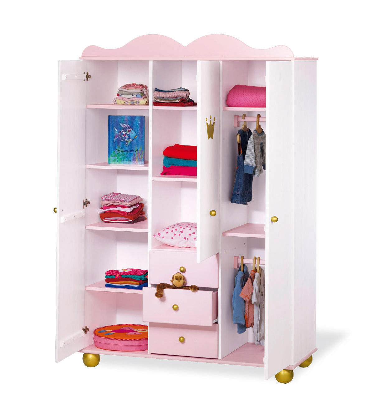 kinder kleiderschrank in rosa g nstig kaufen prinzessin. Black Bedroom Furniture Sets. Home Design Ideas