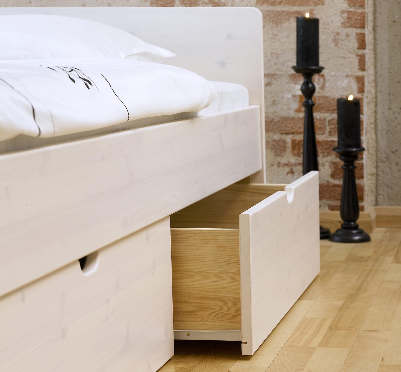 Schubkasten-Doppelbett aus Buche oder Kiefer - Bett Norwegen