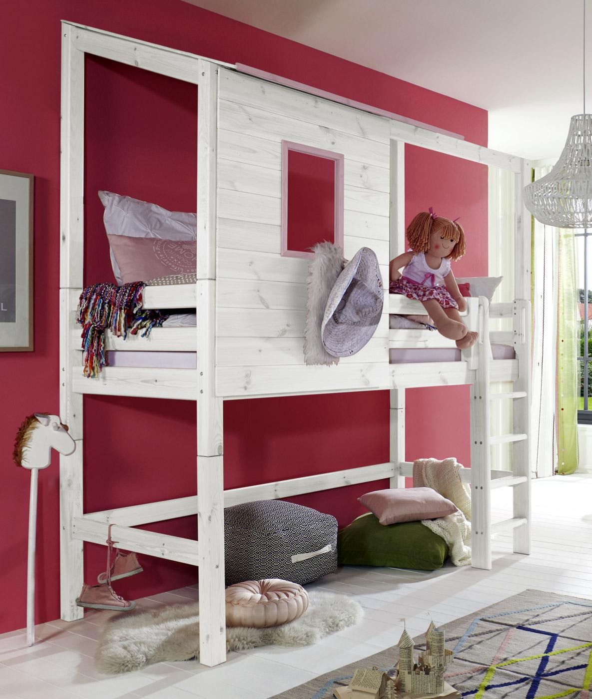 extra hohes abenteuer-hochbett für mädchen - kids paradise - Kinderzimmer Mdchen Weiss