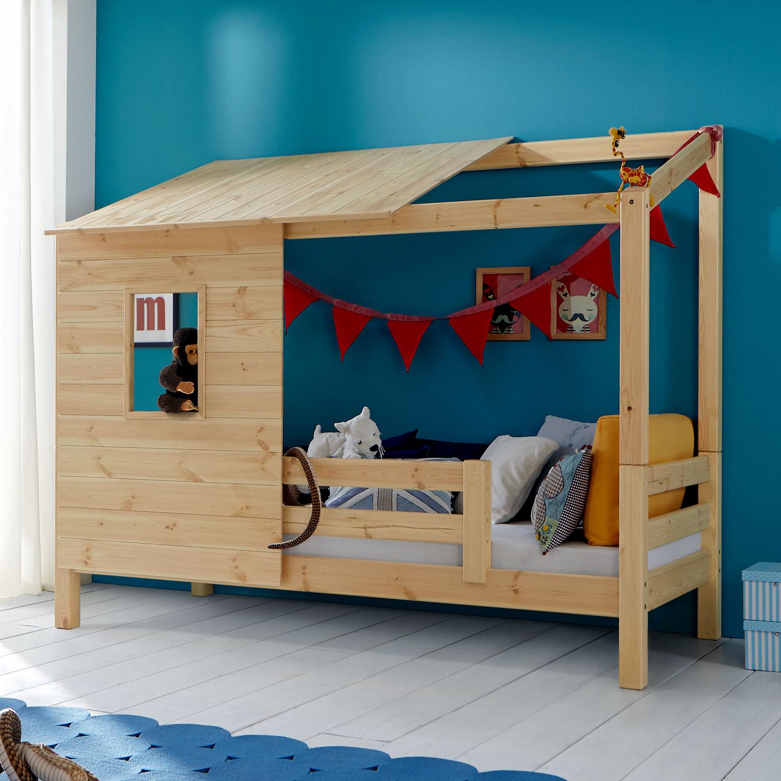 Kinderbett häuschen  Abenteuerbett mit Spielhaus aus Holz - Kids Paradise