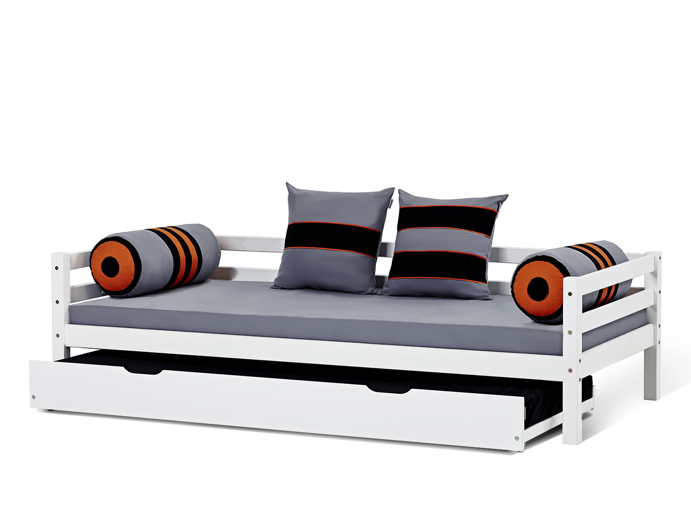 ausziehbett aus wei lackierter kiefer mit rost kids heaven. Black Bedroom Furniture Sets. Home Design Ideas