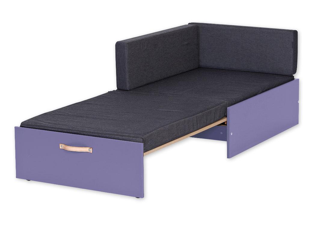 farbiges ausziehsofa mit rollen und ledergriff kids town. Black Bedroom Furniture Sets. Home Design Ideas