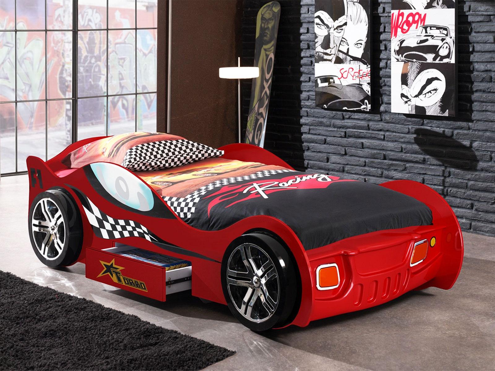 Kinderbett auto  Auto-Kinderbett mit Schublade und Seitenschutz - Drift rot