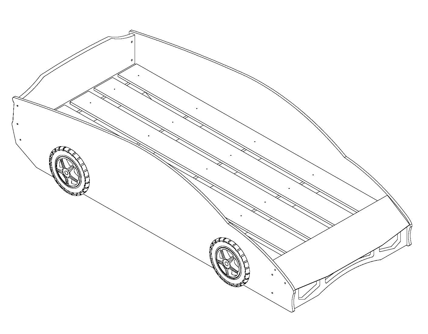 autobett 90x200 cm mit 3d lackierung match rot. Black Bedroom Furniture Sets. Home Design Ideas