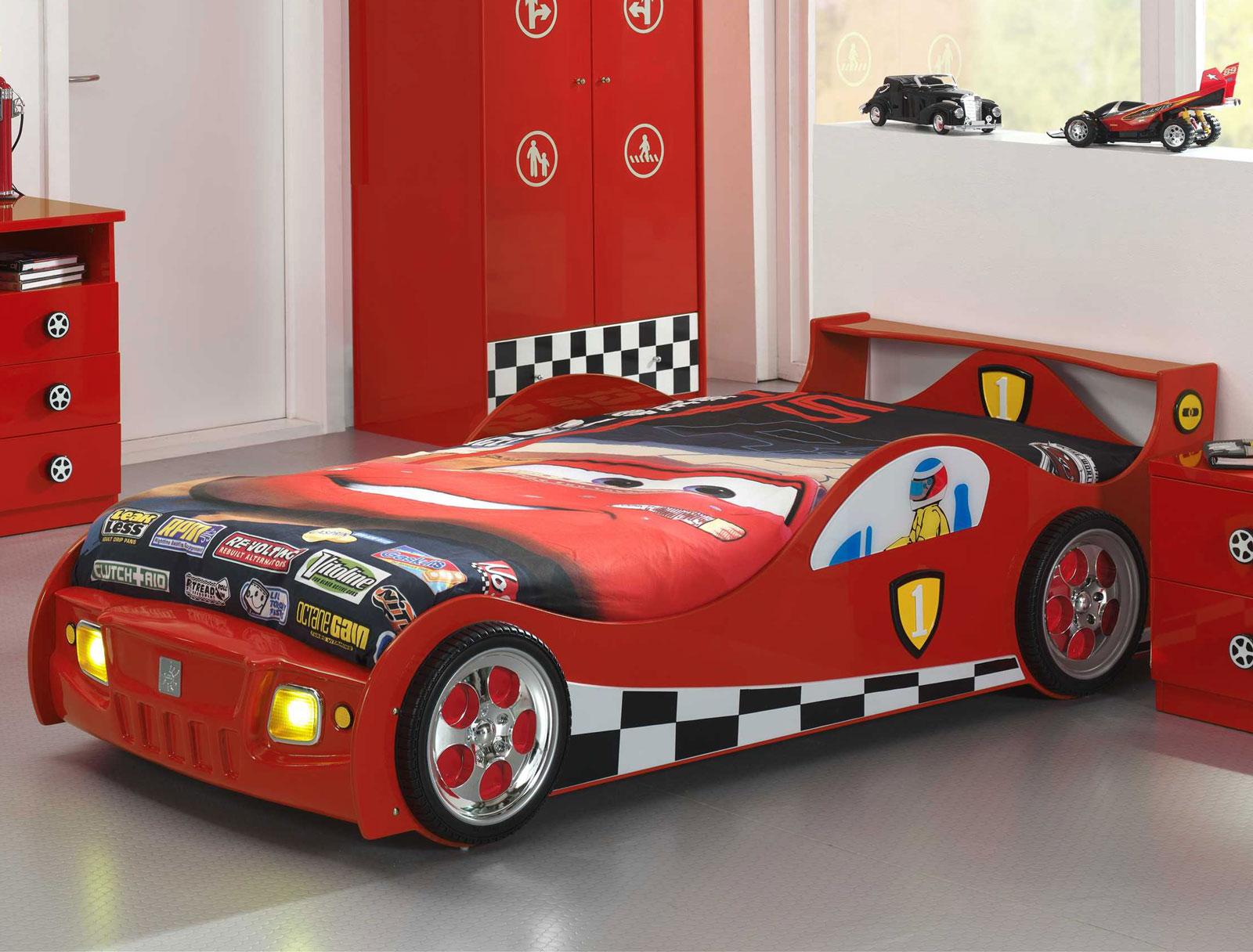 rotes autobett für kinder mit led beleuchtung kaufen - speedfighter, Hause deko