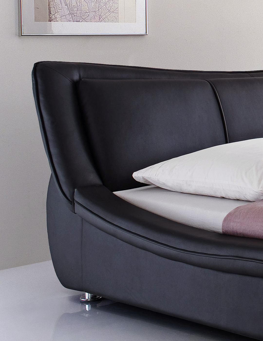 kunstlederbett aberdeen schwarz breite 160 oder 180. Black Bedroom Furniture Sets. Home Design Ideas