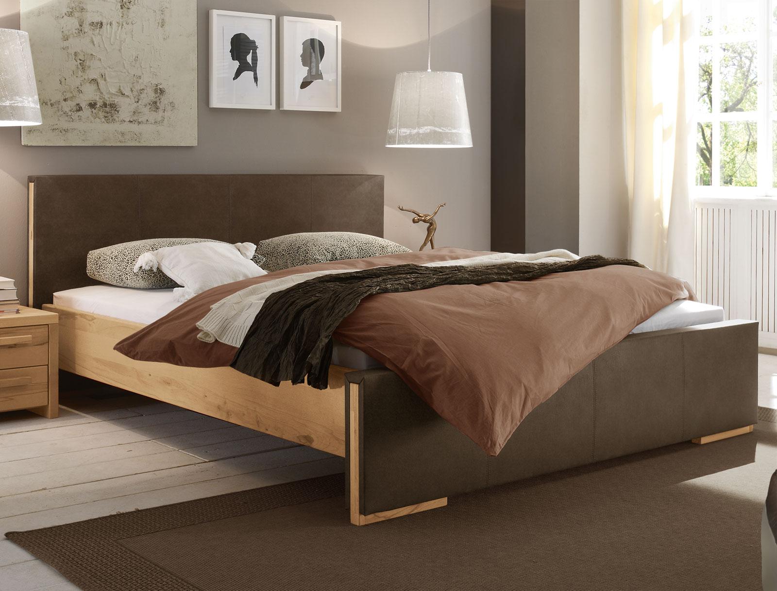 bett aus wildbuche massivholz mit luxus-kunstleder - amadora, Wohnideen design