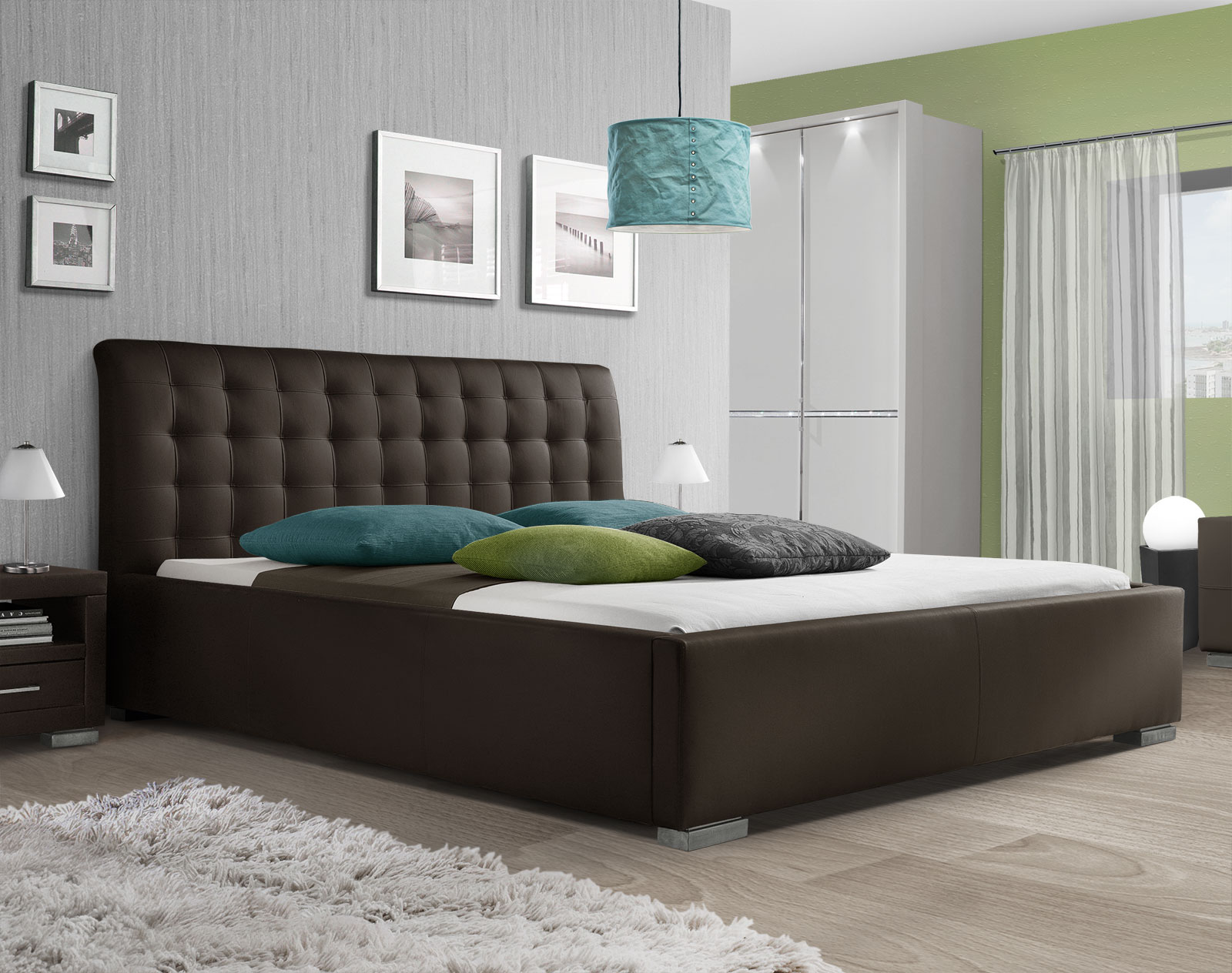 kunstlederbett mit hohem kopfteil baskerville comfort. Black Bedroom Furniture Sets. Home Design Ideas