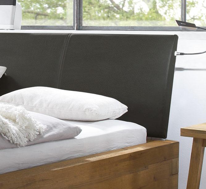 Bett aus Wildeiche mit Kopfteil aus Kunstleder - Leros