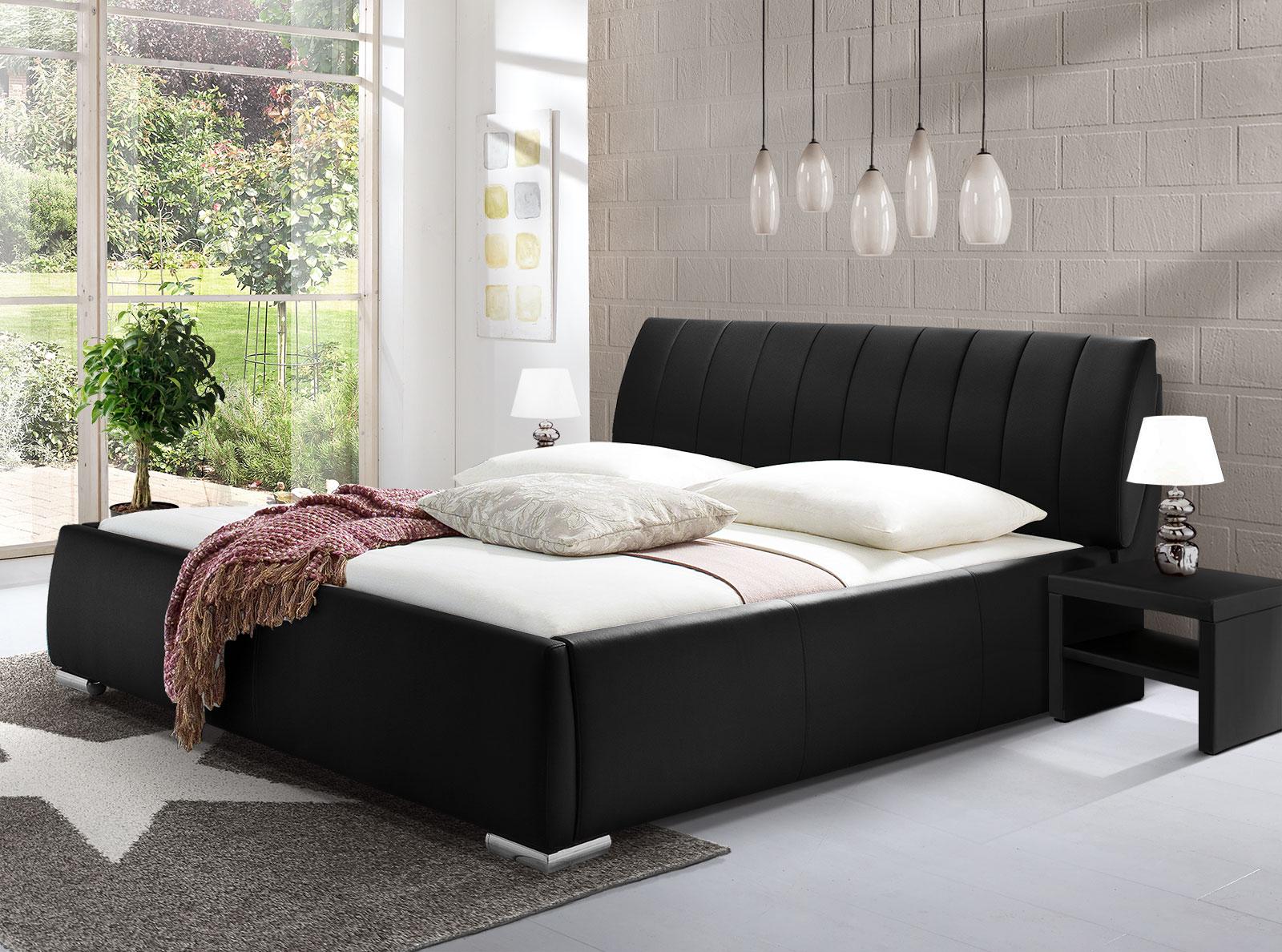 kunstlederbett mit bettkasten und lattenrost lewdown. Black Bedroom Furniture Sets. Home Design Ideas