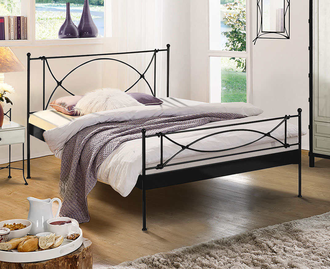 modernes metallbett in cremewei 140x200 cm ordino. Black Bedroom Furniture Sets. Home Design Ideas