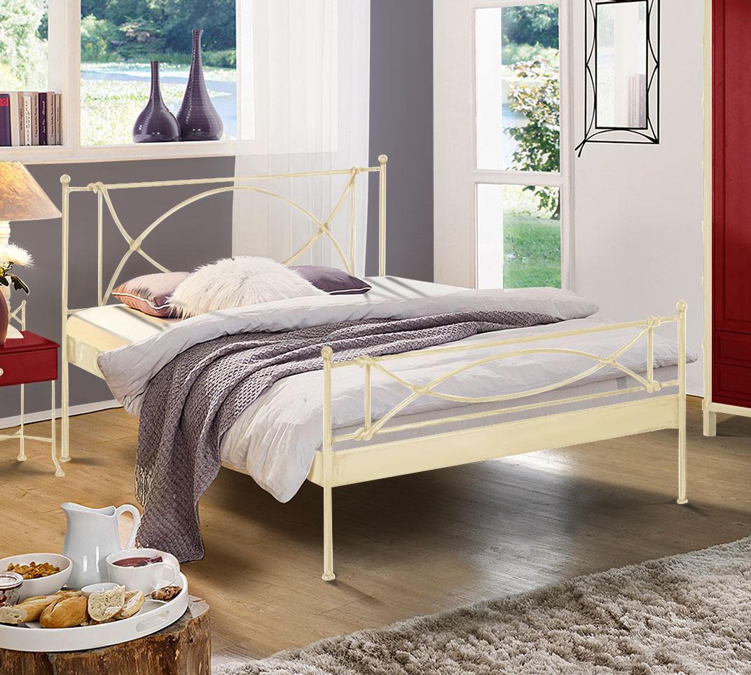 modernes metallbett in cremewei 140x200 cm ordino. Black Bedroom Furniture Sets. Home Design Ideas