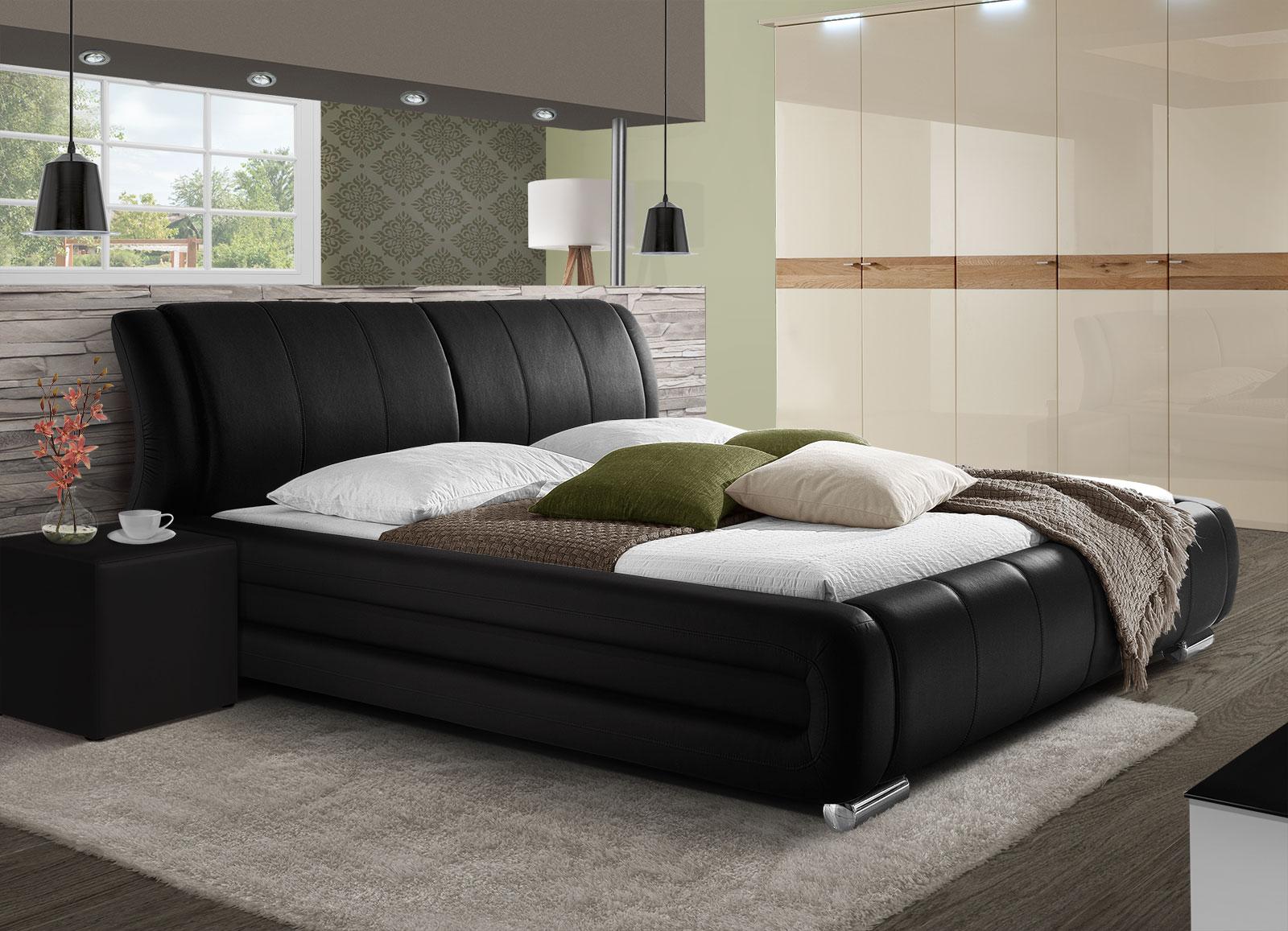 kunstlederbett in braun schwarz oder wei petersfield. Black Bedroom Furniture Sets. Home Design Ideas
