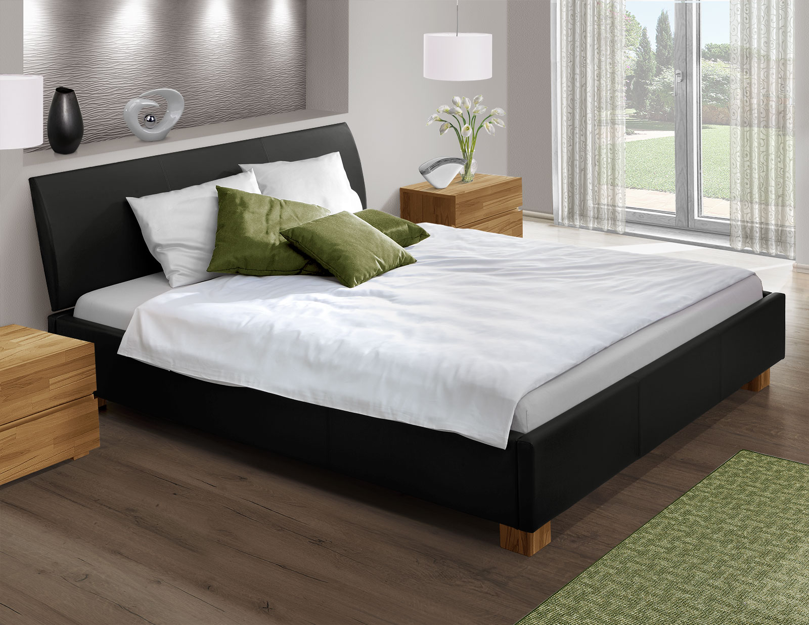 Bett mit Echtleder z. B. in Schwarz 180x200 cm - Serpa