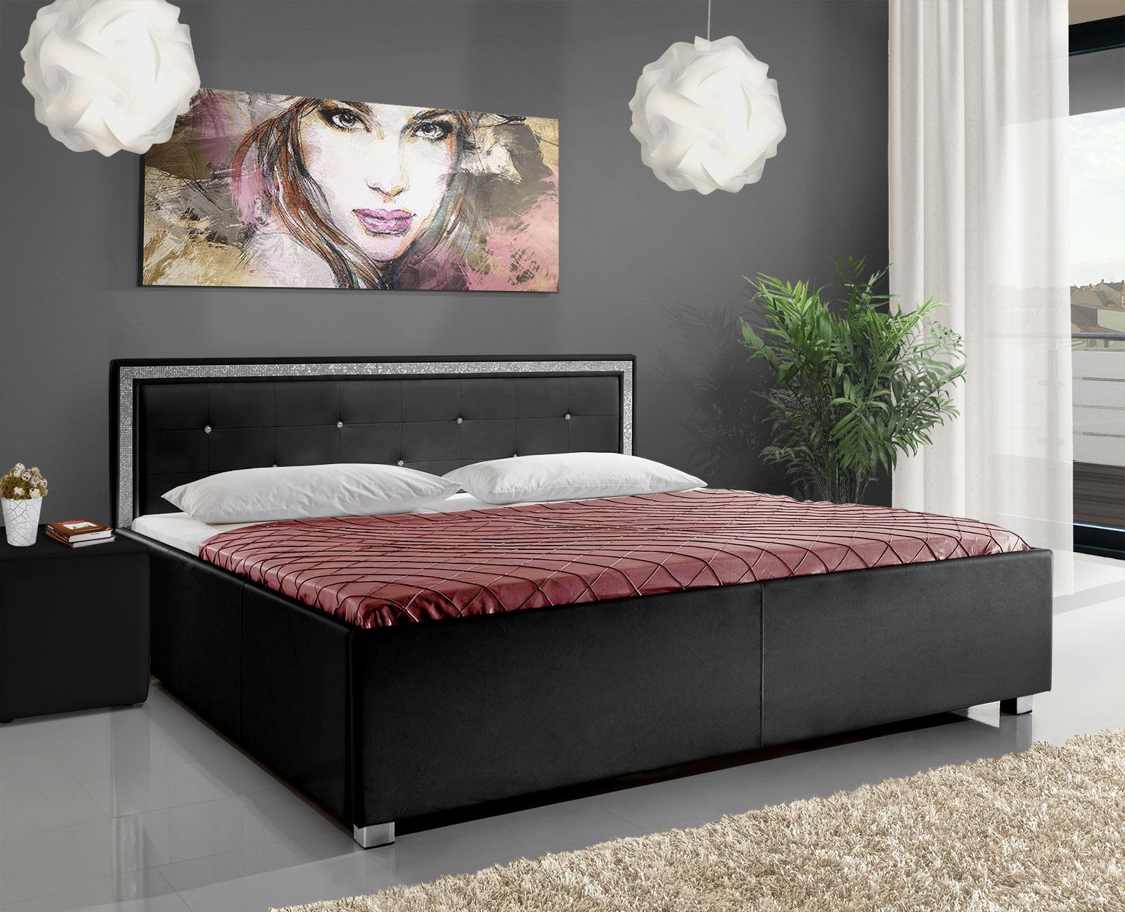 Bett mit Bordüre und Strass-Steinchen - Sheringham