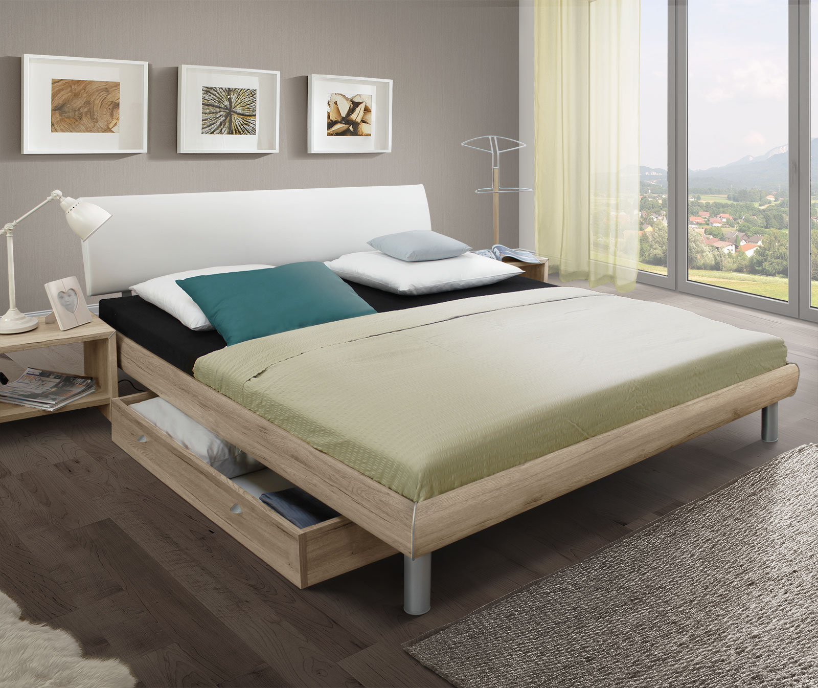 g nstiges bett mit holzoptik eiche san remo tanaro. Black Bedroom Furniture Sets. Home Design Ideas