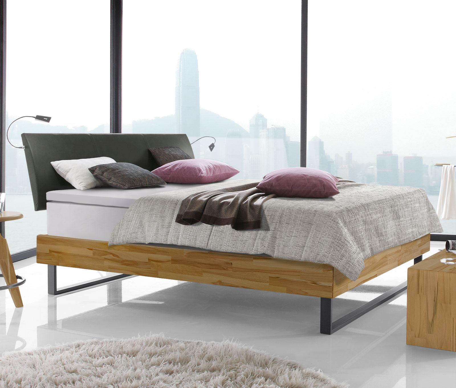 Doppelbett aus Buche mit Boxspring-Ausstattung - Agia