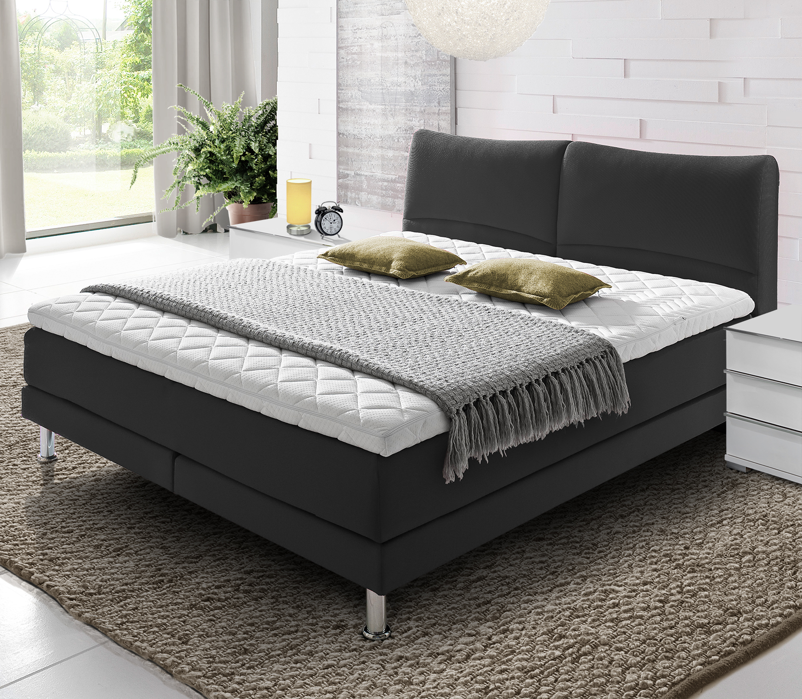boxspringbett gr e 140x200 cm im h rtegrad h3 asheville. Black Bedroom Furniture Sets. Home Design Ideas