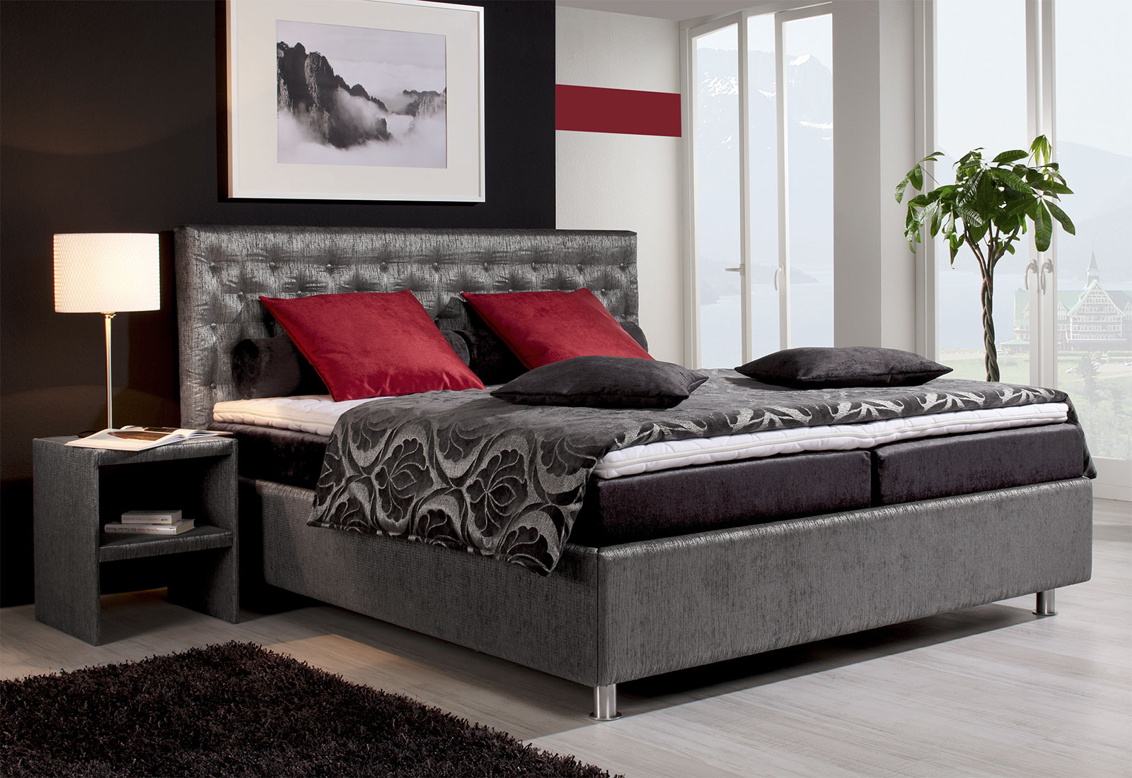 graues boxspringbett borneo mit gestepptem kopfteil. Black Bedroom Furniture Sets. Home Design Ideas