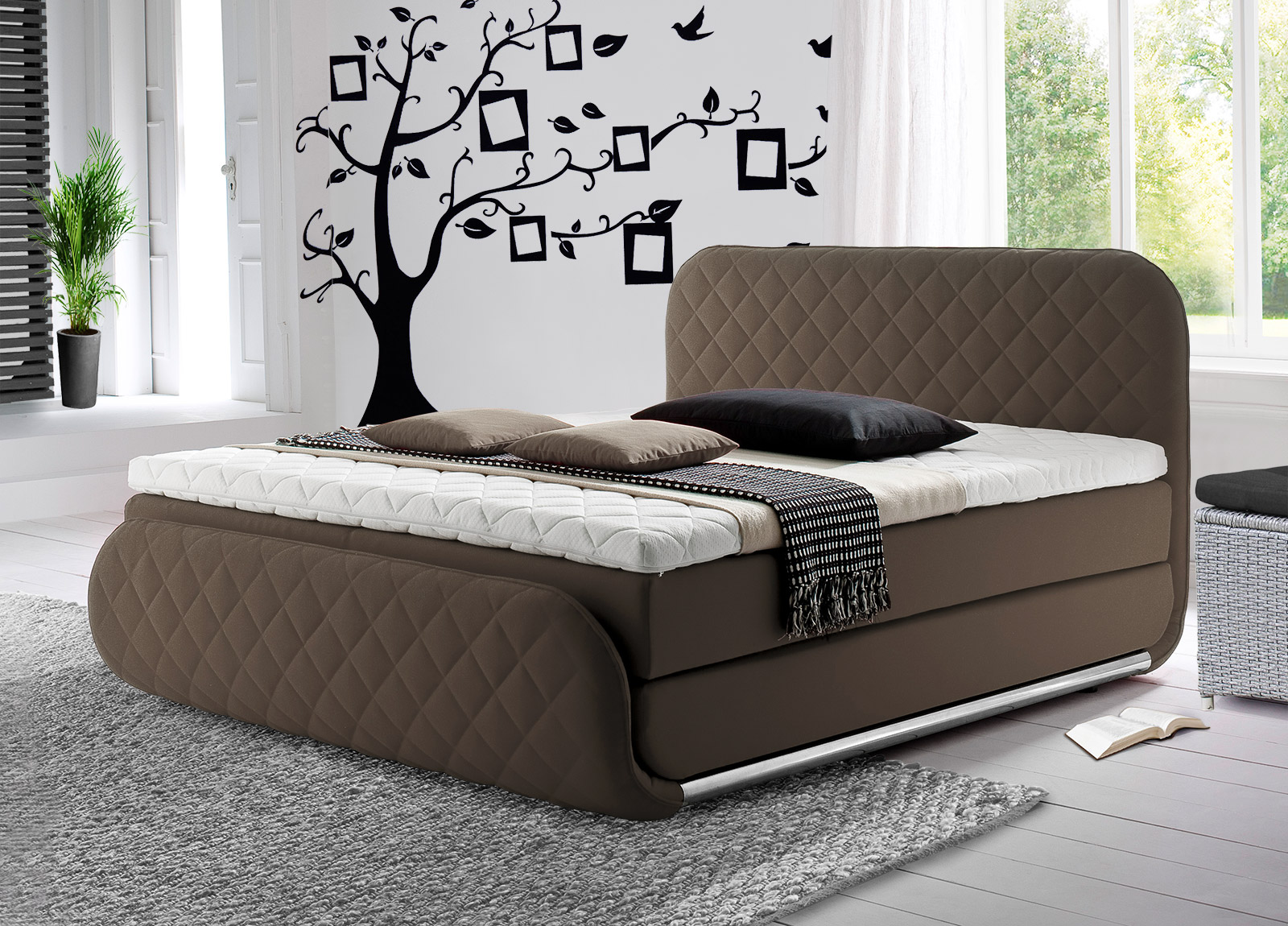 design boxspringbett mit karosteppung cincinnati. Black Bedroom Furniture Sets. Home Design Ideas