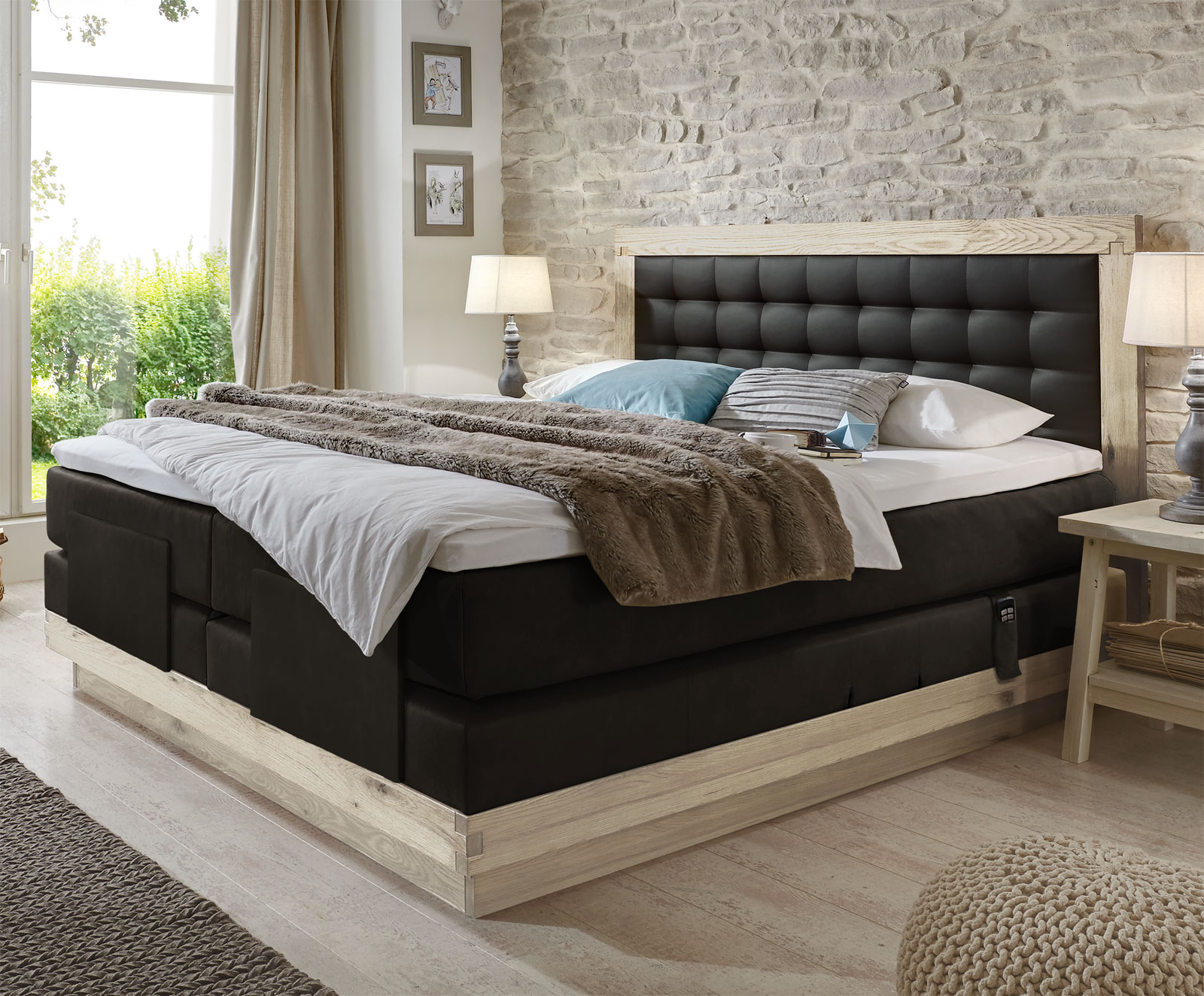 boxspringbett mit verstellbarem kopfende galicia elektro. Black Bedroom Furniture Sets. Home Design Ideas