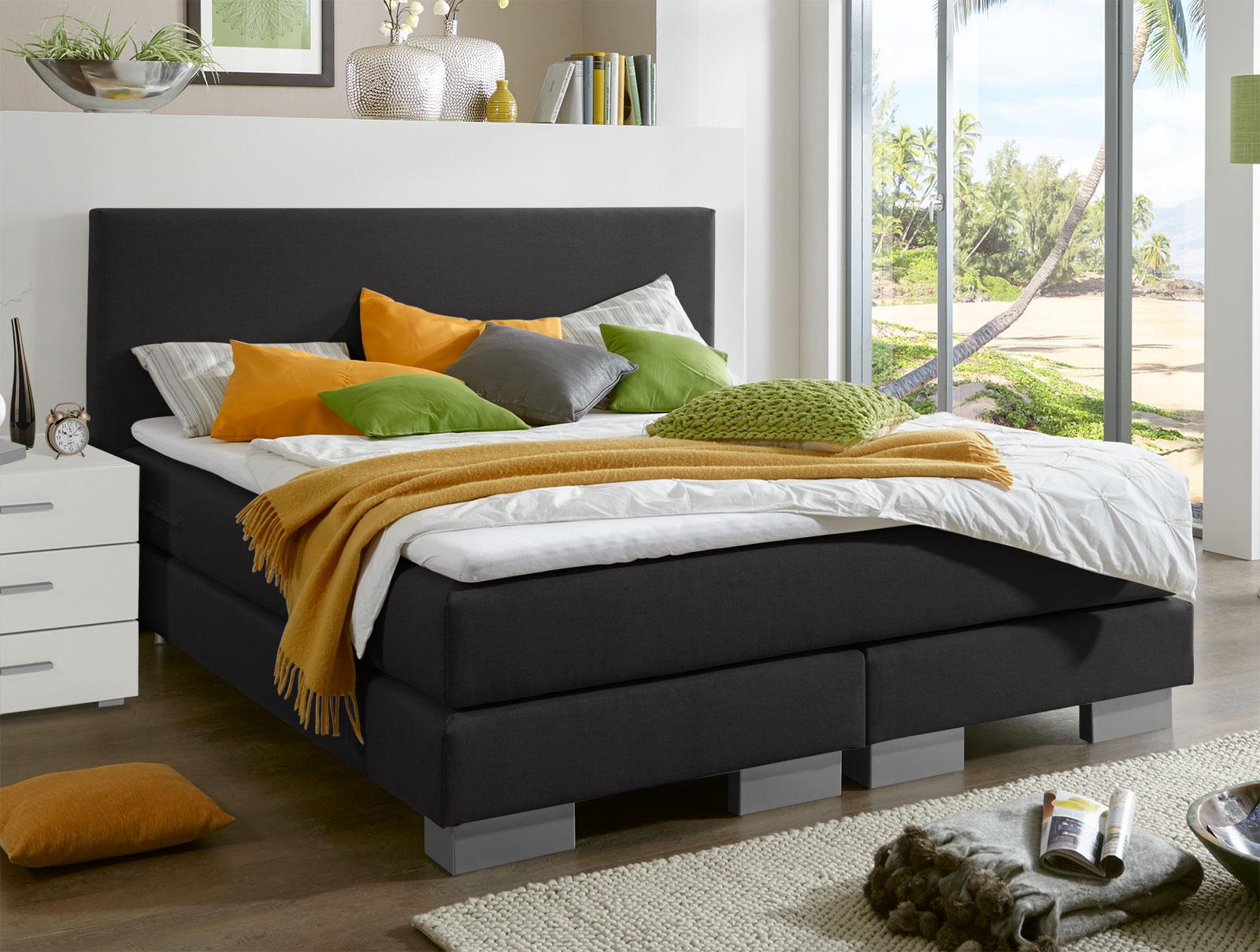 boxspringbett in h3 und z b 160x200 cm mit topper mauritius. Black Bedroom Furniture Sets. Home Design Ideas