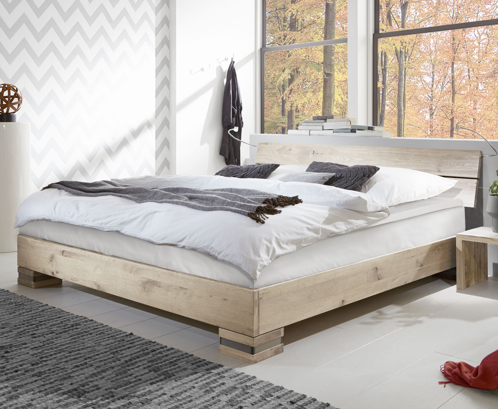 boxspringbett mexiana aus massivholz wildeiche mit. Black Bedroom Furniture Sets. Home Design Ideas