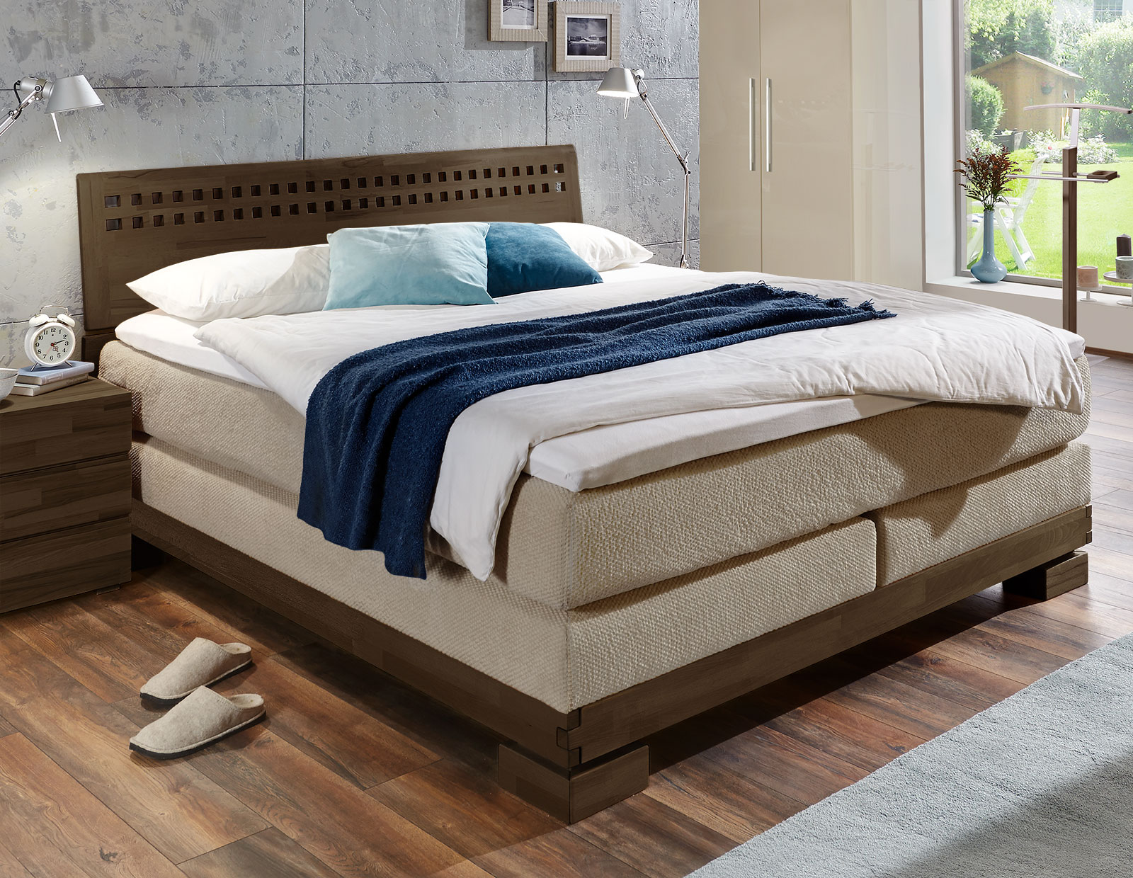 massivholz boxspringbett aus kernbuche in 180x200 piacenza. Black Bedroom Furniture Sets. Home Design Ideas
