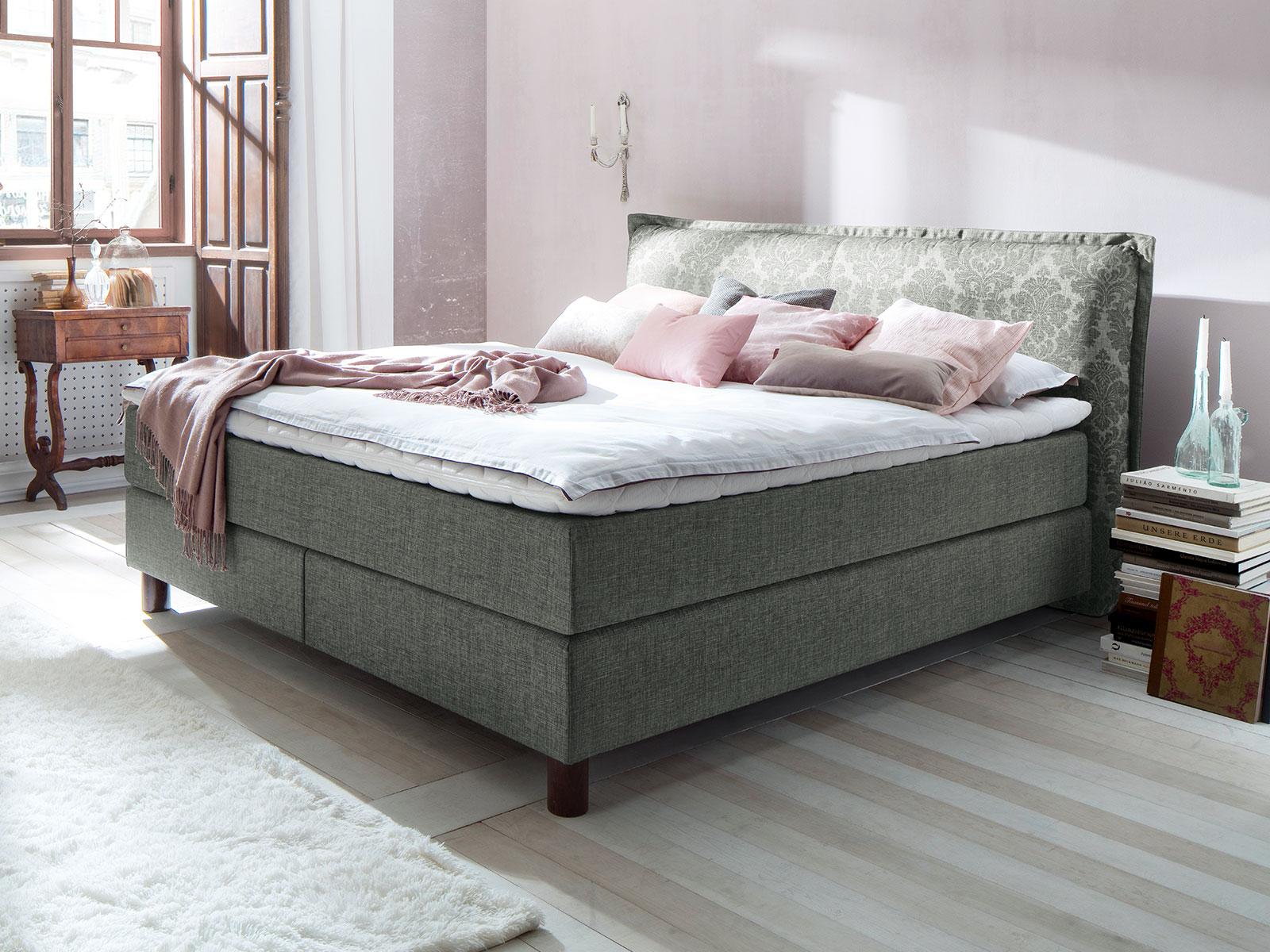 romantisches boxspringbett im französischen landhausstil - satun, Schlafzimmer entwurf