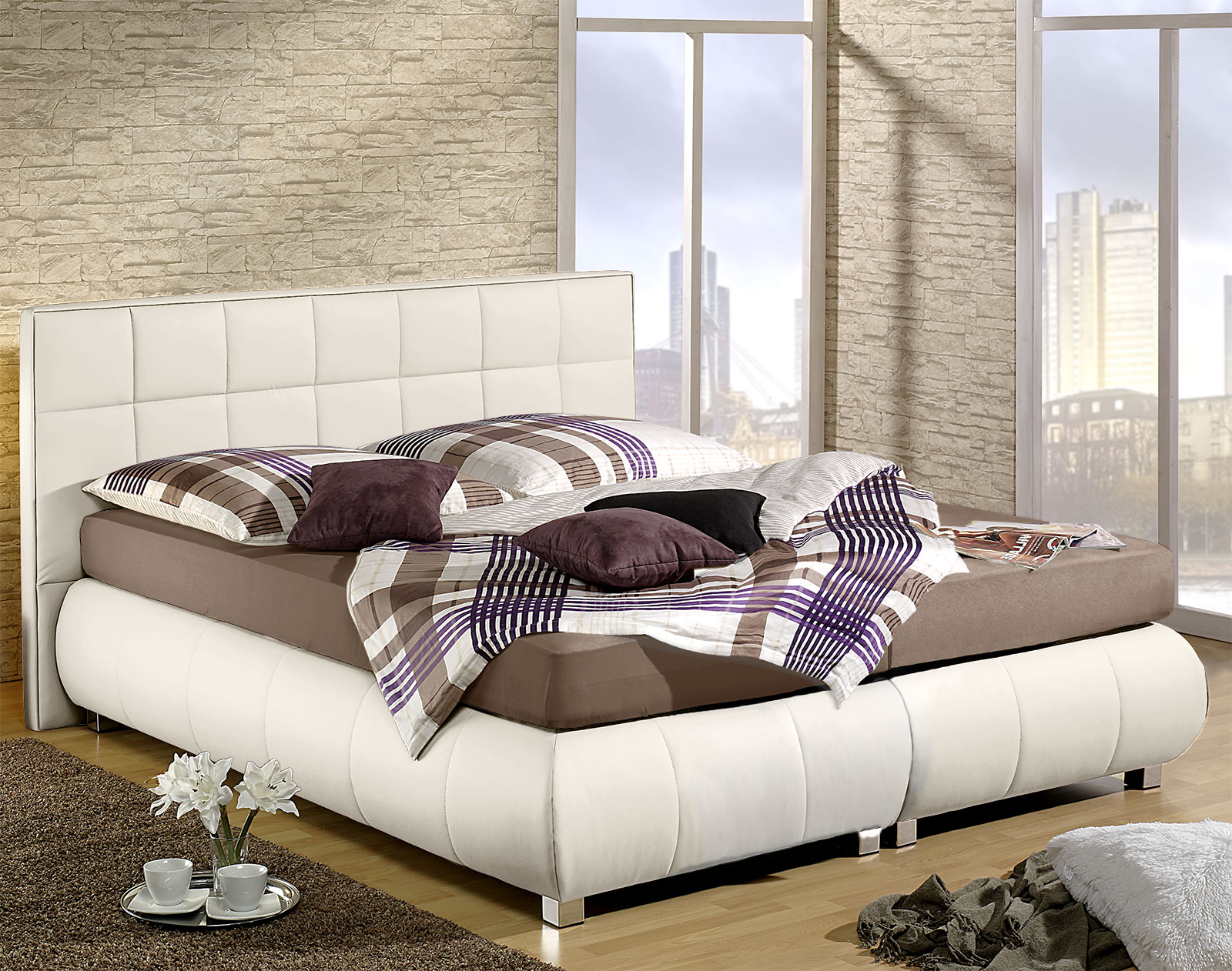 boxspringbett mit kunstleder bezug seattle. Black Bedroom Furniture Sets. Home Design Ideas