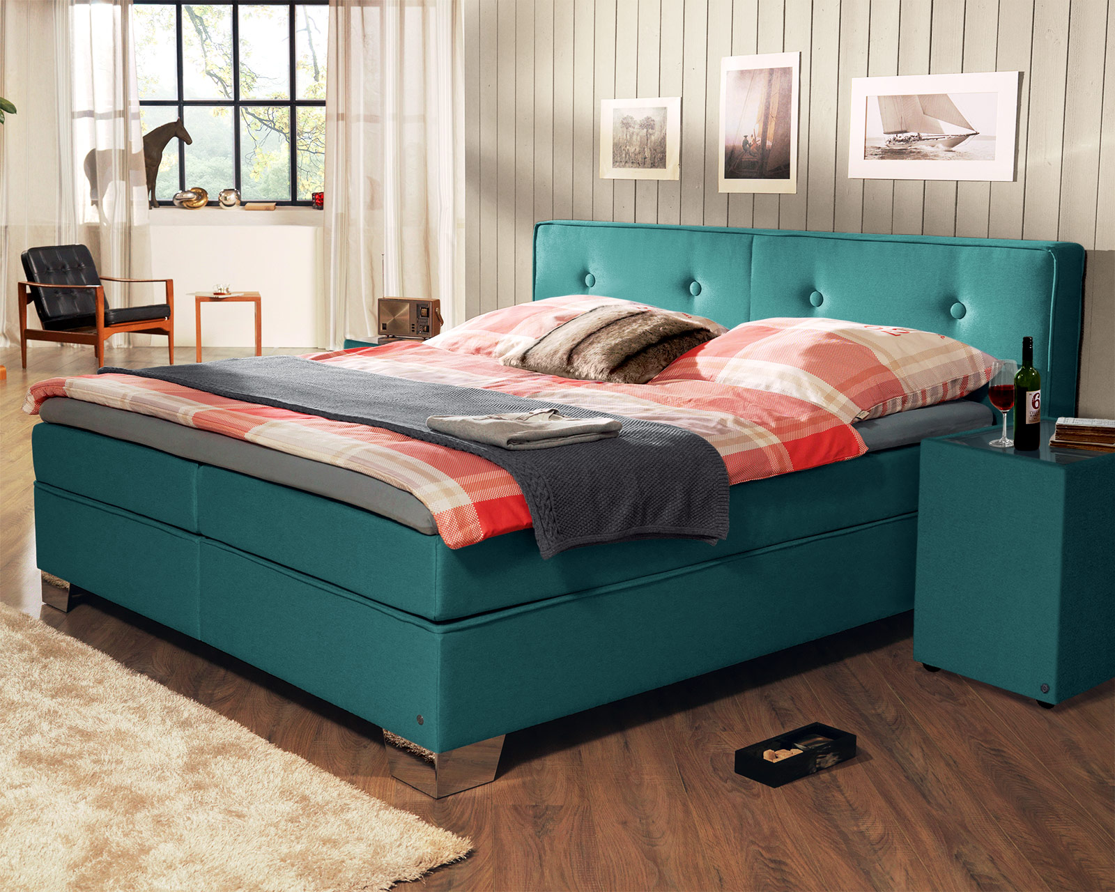 trendiges tom tailor soft boxspringbett in modernen farben. Black Bedroom Furniture Sets. Home Design Ideas