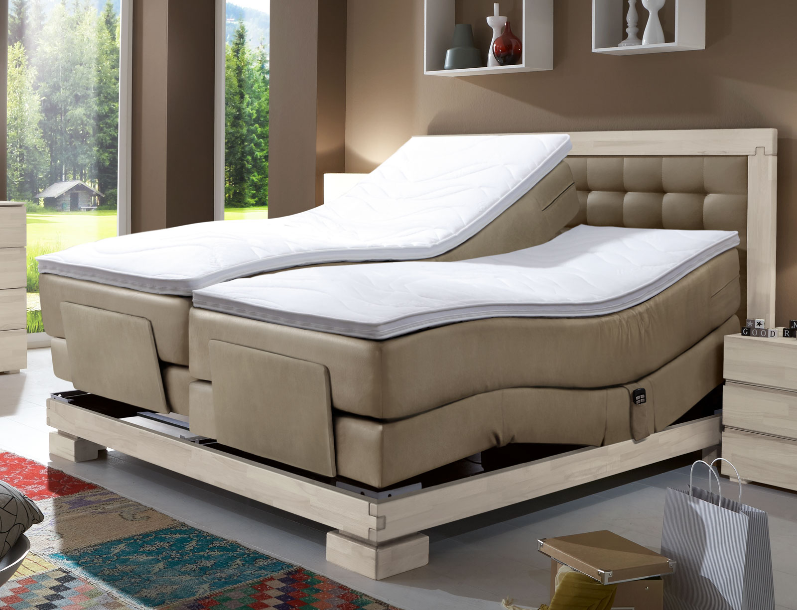 boxspringbett in 160x200 mit motor viterbus elektro. Black Bedroom Furniture Sets. Home Design Ideas