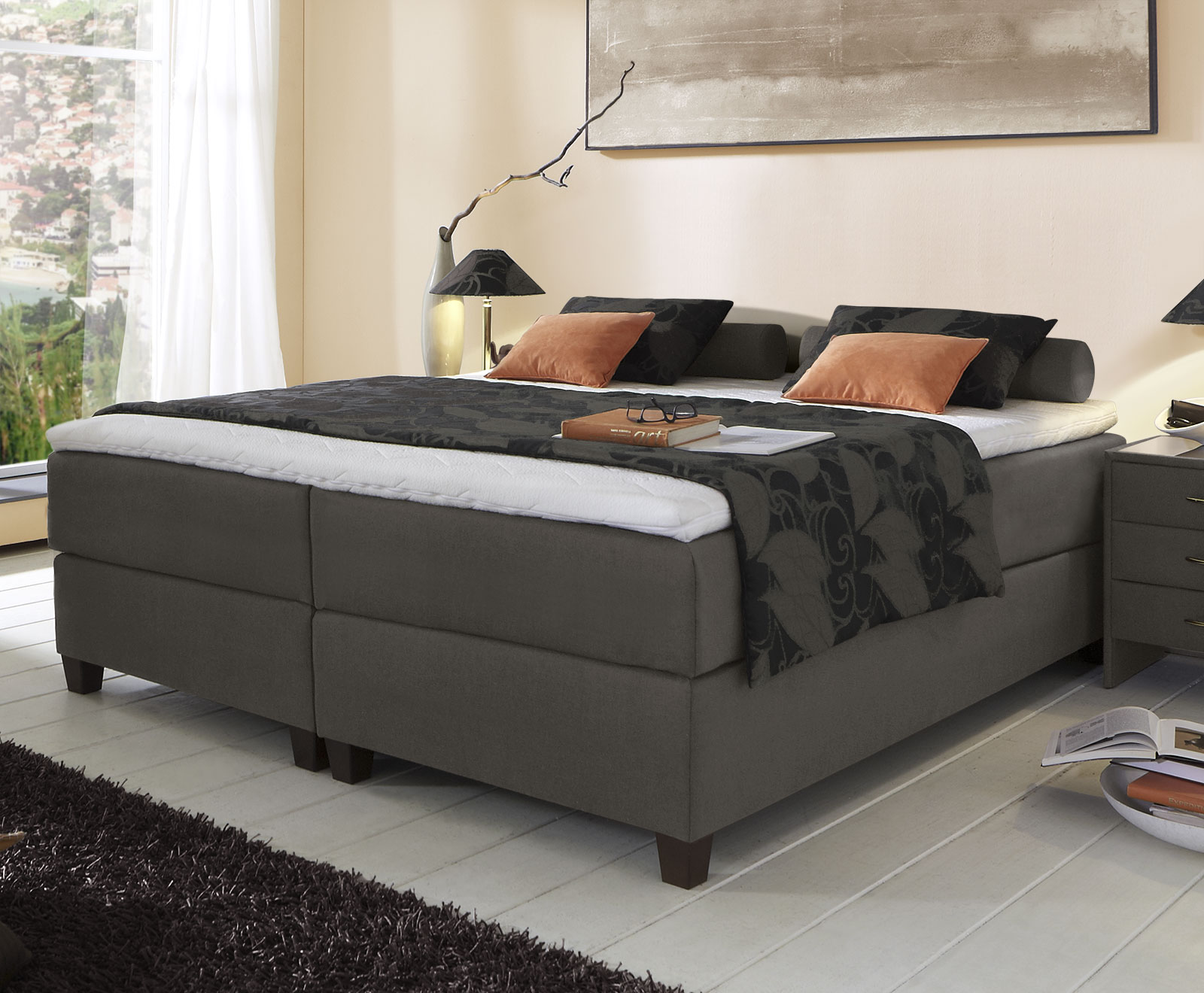 boxspringbett niedriges kopfteil boxspringbett mit niedrigem kopfteil boxspring welt. Black Bedroom Furniture Sets. Home Design Ideas