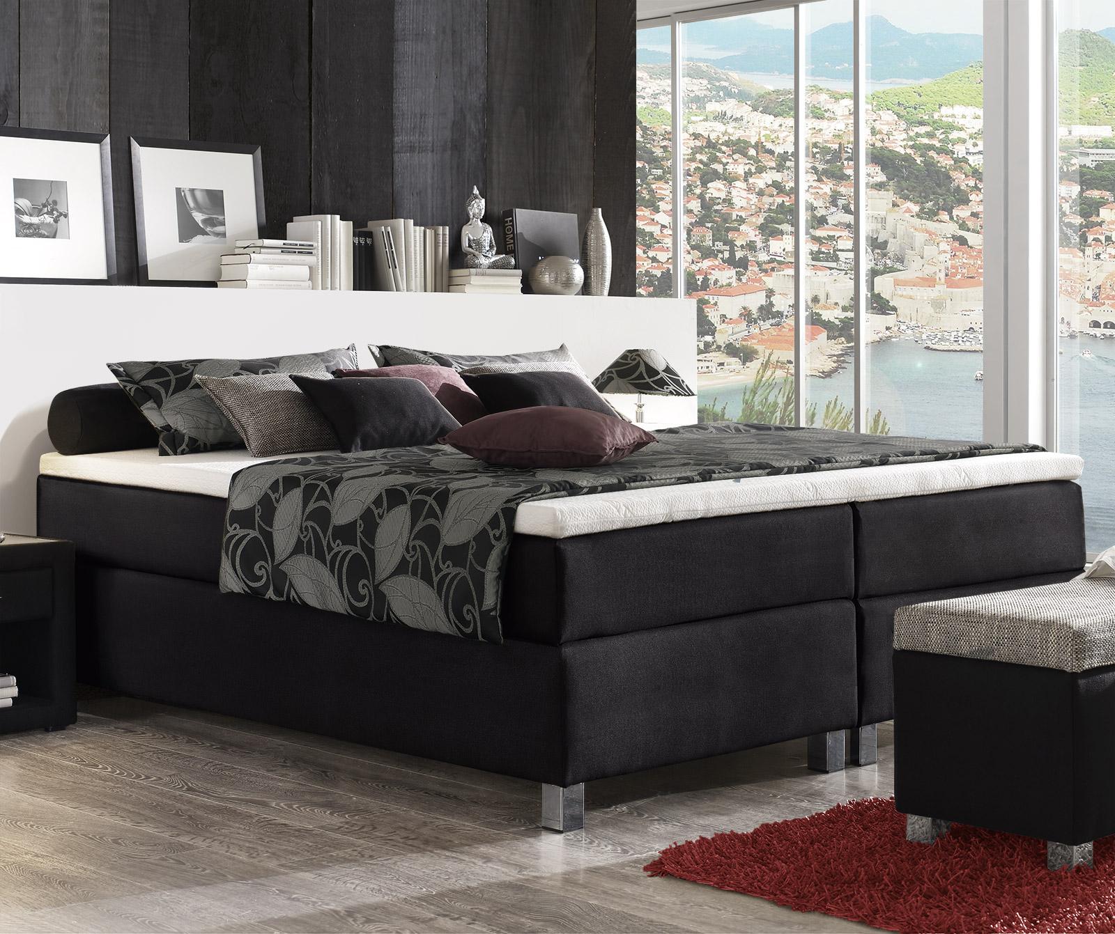 boxspringbett ohne kopfteil mit stoff g nstig tiberio. Black Bedroom Furniture Sets. Home Design Ideas