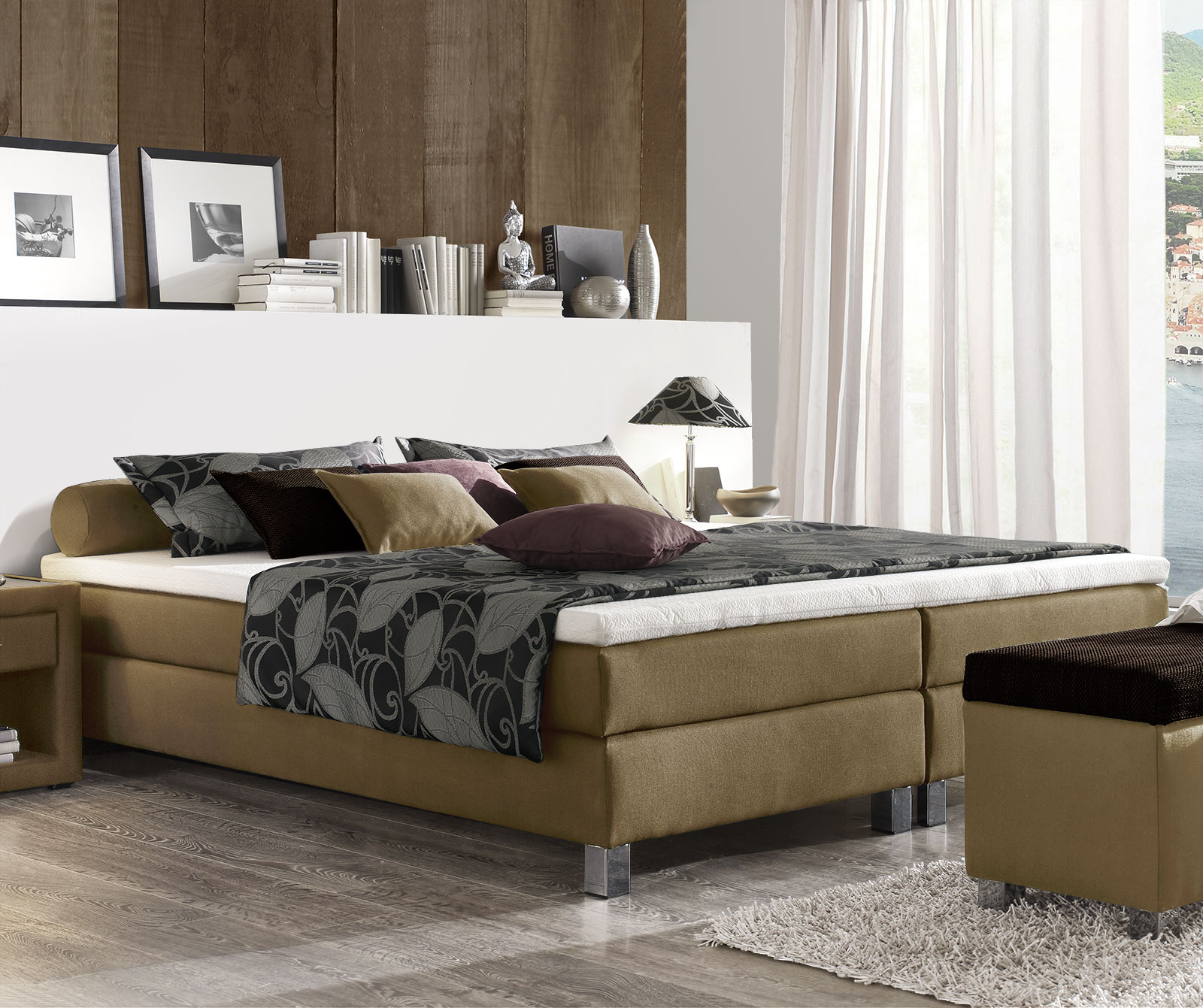 boxspringbett ohne metall neuesten design. Black Bedroom Furniture Sets. Home Design Ideas