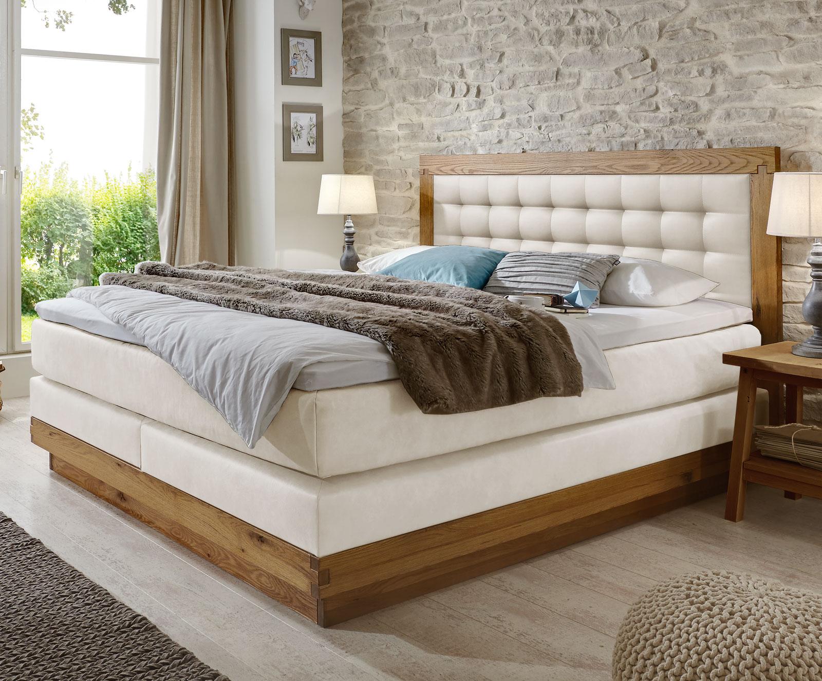 boxspringbett aus massiver wildeiche kunstleder galicia. Black Bedroom Furniture Sets. Home Design Ideas