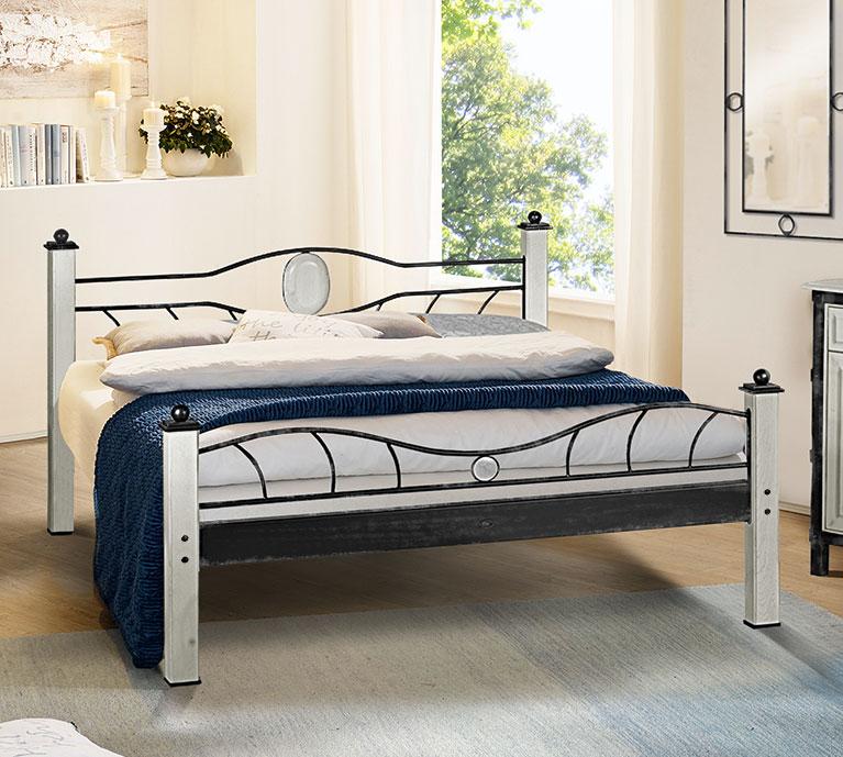 weißes metallbett in 180x200 cm handgeschmiedet - lavia, Hause deko