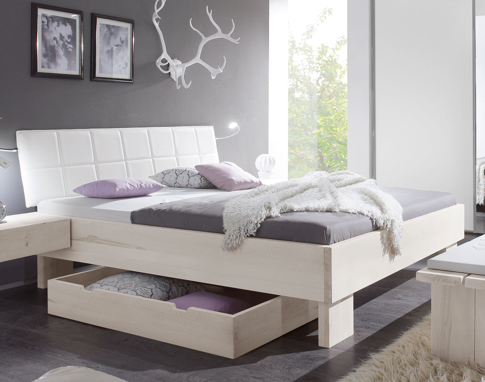 massives bett in komforth he aus wildbuche natur nemea. Black Bedroom Furniture Sets. Home Design Ideas