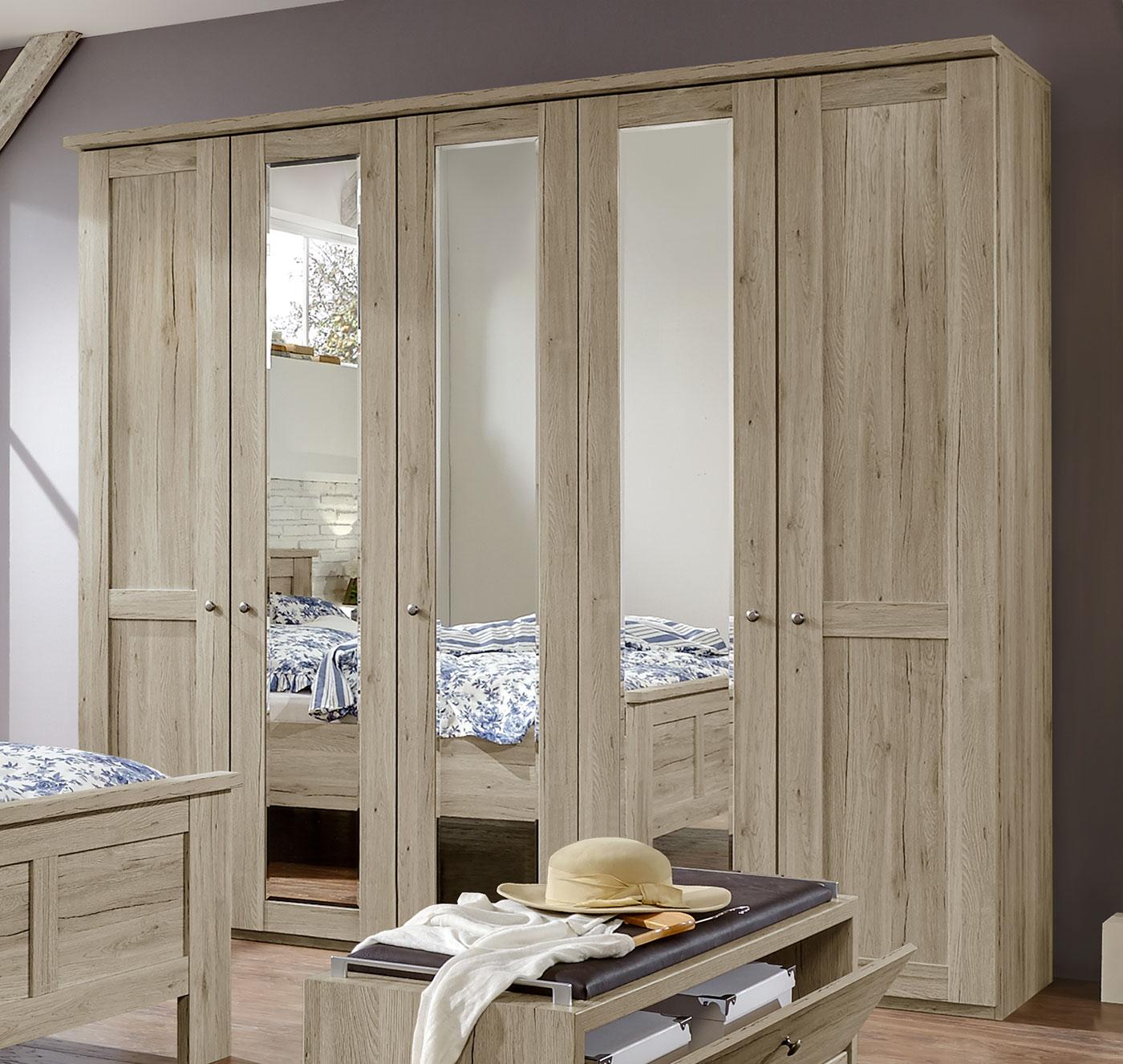 Drehtürenschrank Eiche-Dekor im Landhausstil mit Spiegeln - Catio