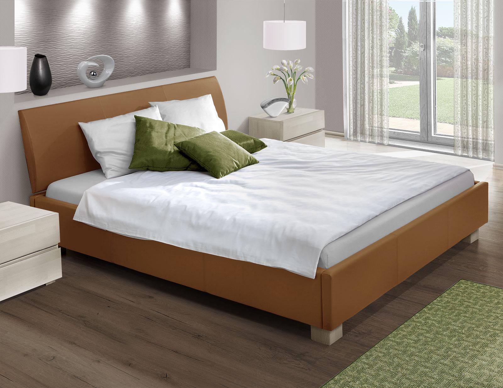 Bett mit echtleder z b in schwarz 180x200 cm serpa for Bett 140x220 mit matratze