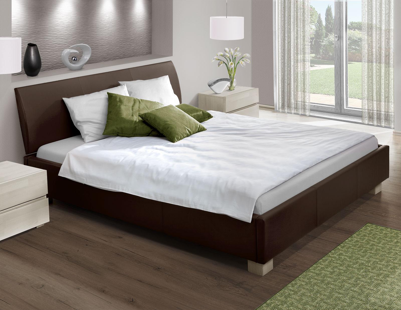 bett mit echtleder z b in schwarz 180x200 cm serpa. Black Bedroom Furniture Sets. Home Design Ideas