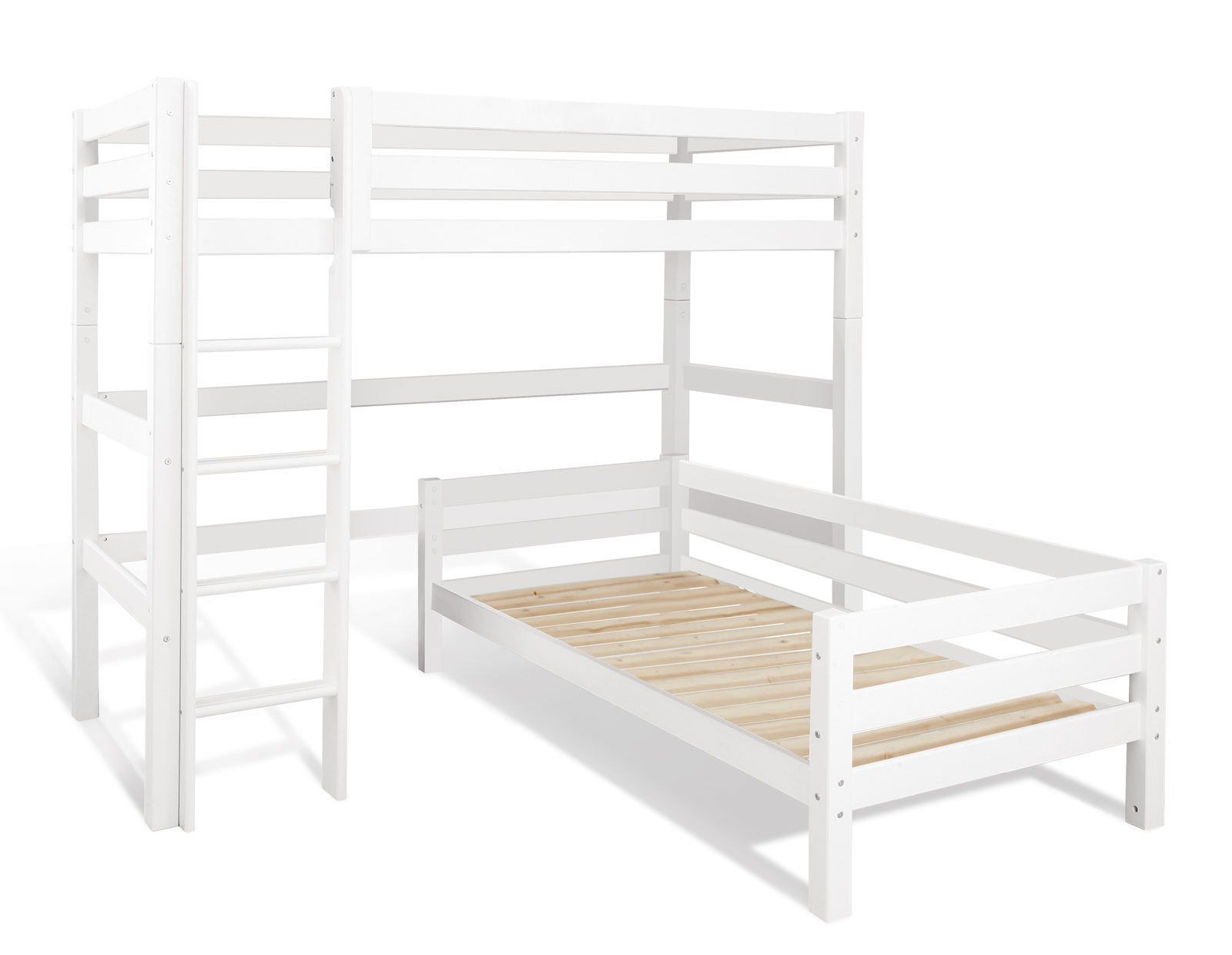 Etagenbett Mit Lattenrost Günstig : Eck etagenbett in weiß aus massivem kiefernholz kids royalty
