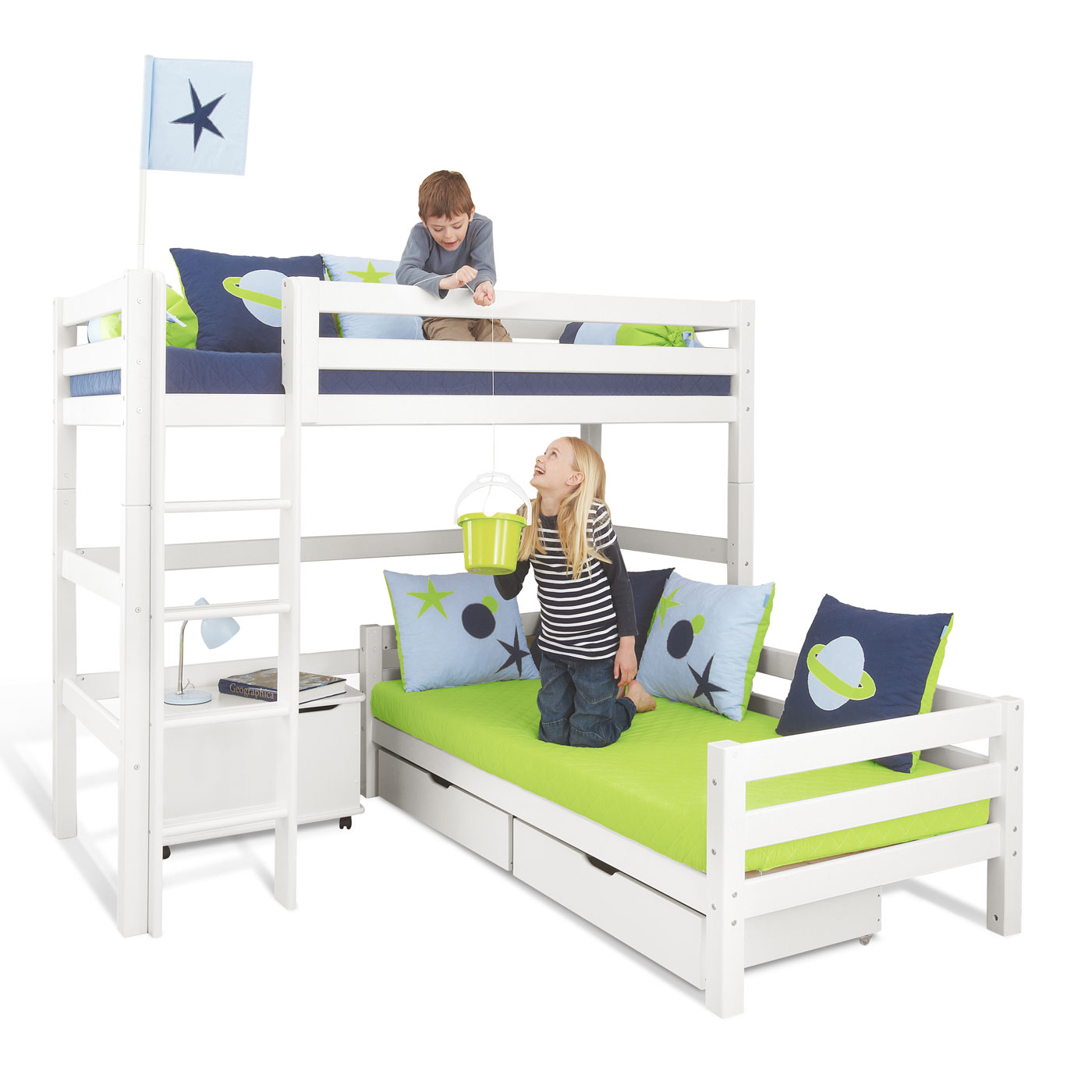 eck etagenbett in wei aus massivem kiefernholz kids royalty. Black Bedroom Furniture Sets. Home Design Ideas