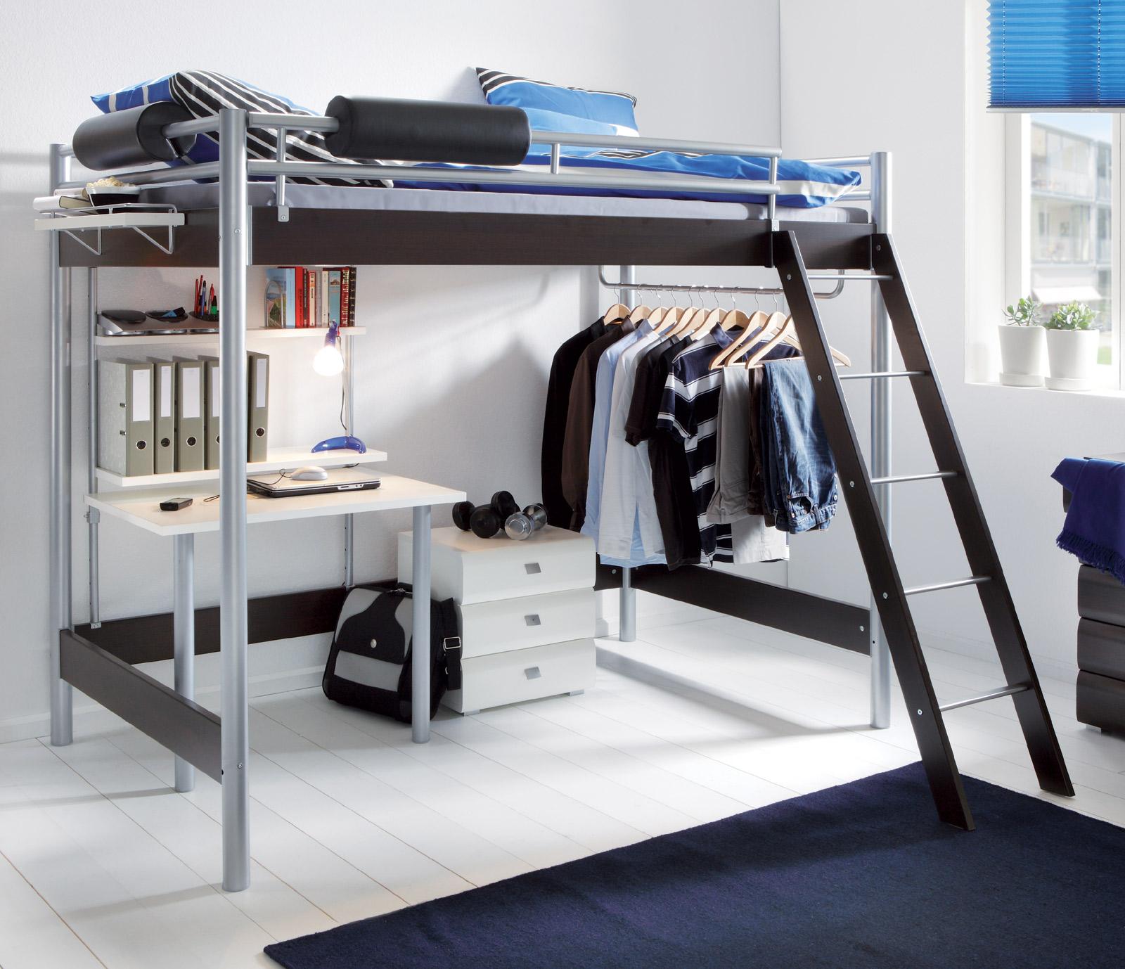 hochbett f r erwachsene mit schreibtisch und kleiderstange. Black Bedroom Furniture Sets. Home Design Ideas
