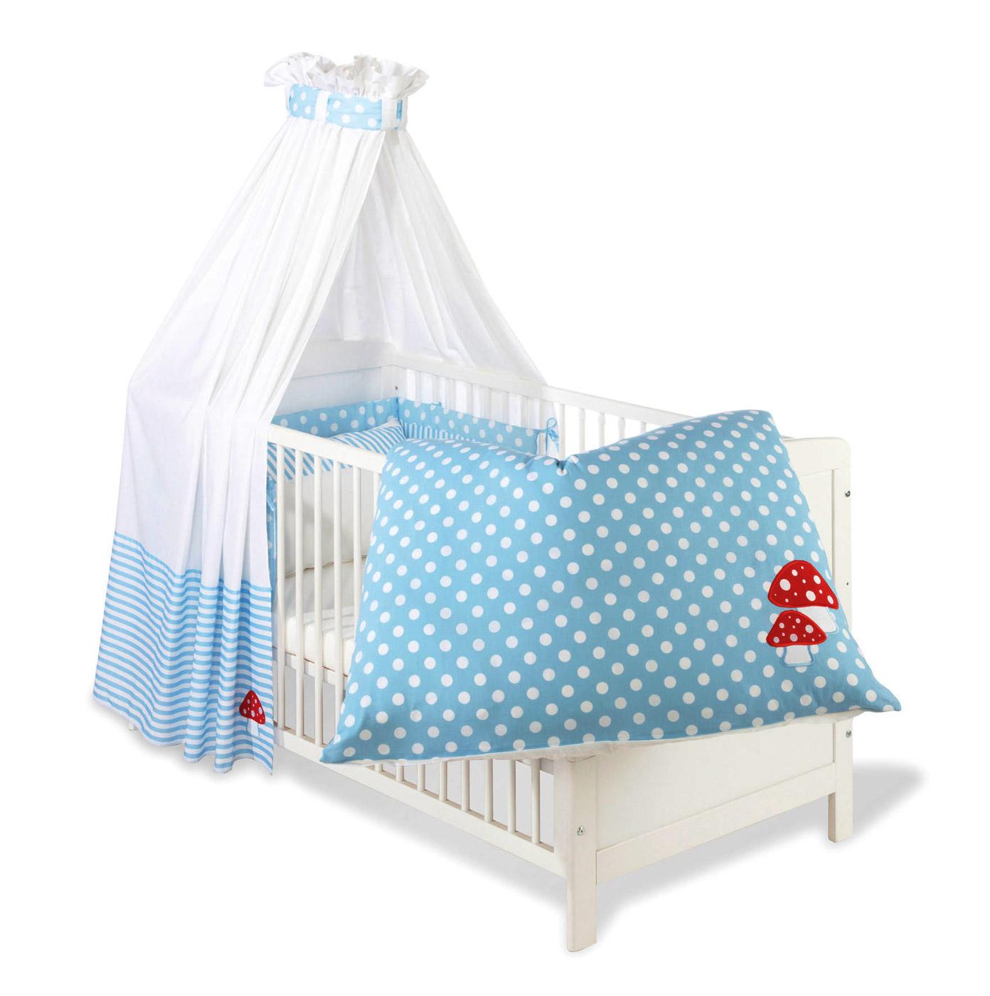 betthimmel und nestchen gl ckspilz hellblau blauer stoff mit pilz. Black Bedroom Furniture Sets. Home Design Ideas