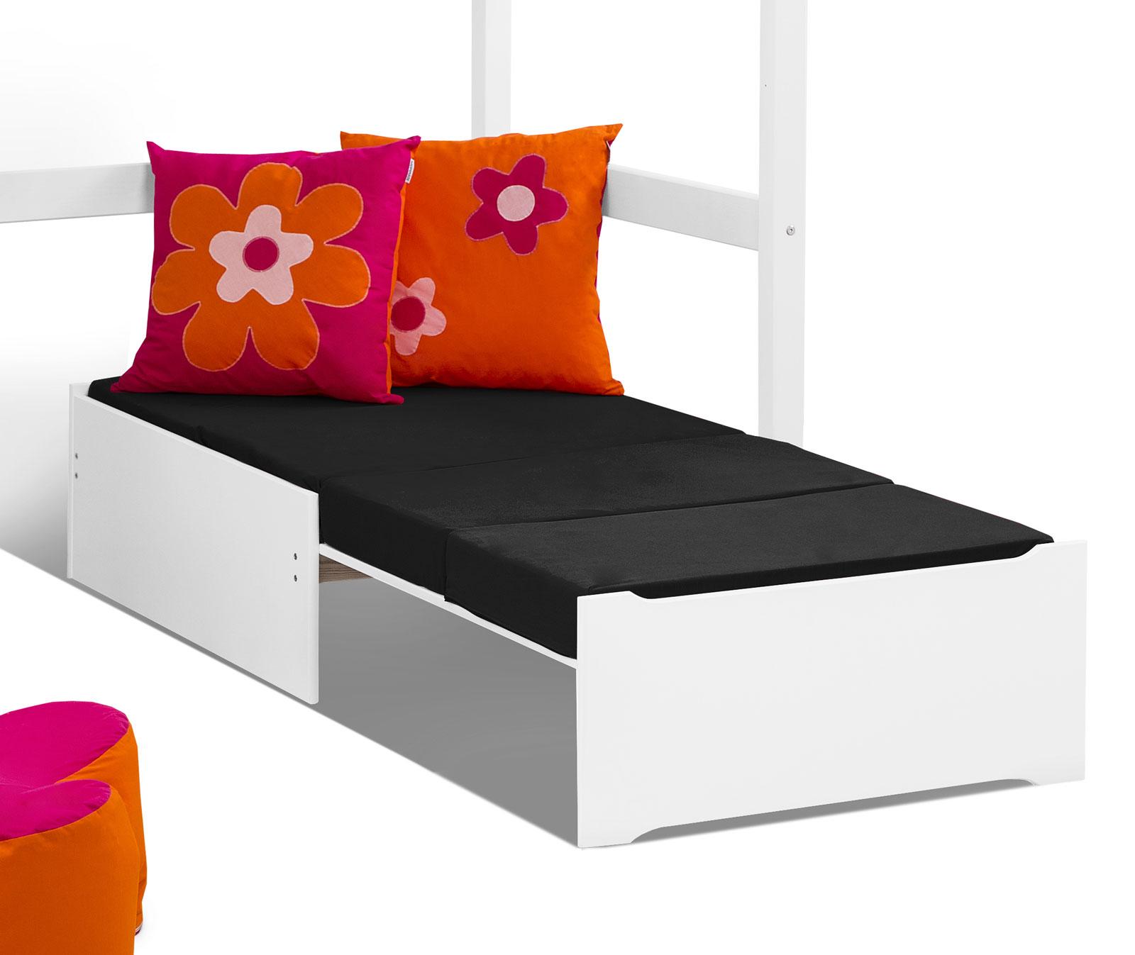 Die Couch Lässt Sich Ausziehen Und Bietet So Eine Vollwertige Zweite  Liegefläche.