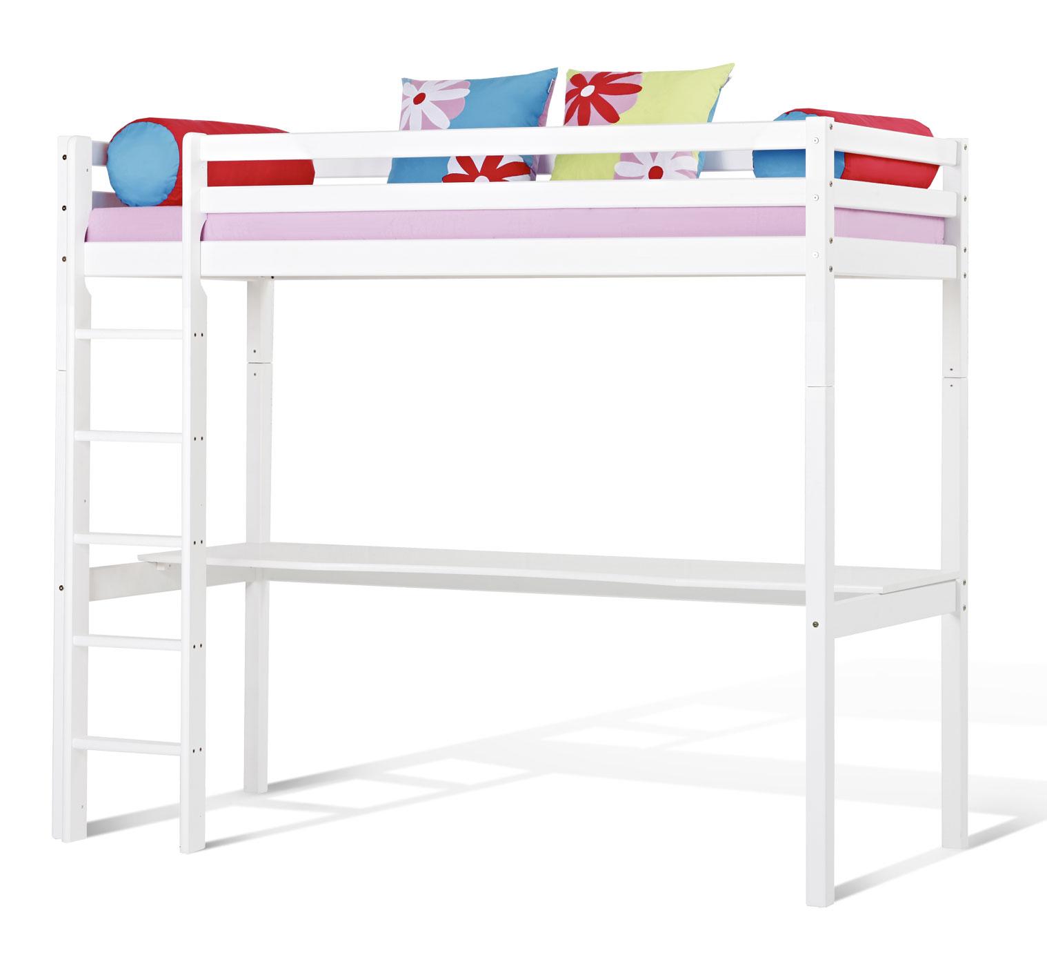 Wei es hochbett aus kiefer massiv kids heaven mit schreibtisch - Schreibtisch kiefernholz ...