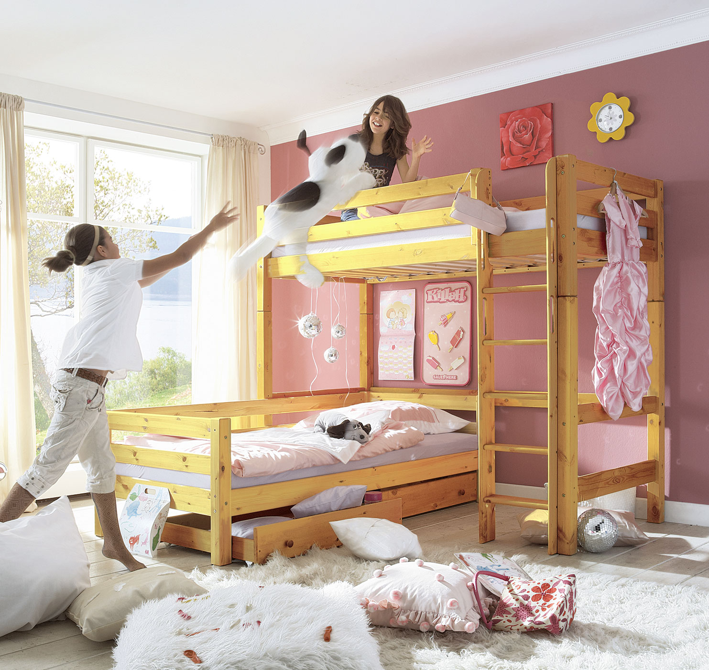 hochbett mit leiter f r kinder hochbett kids paradise. Black Bedroom Furniture Sets. Home Design Ideas