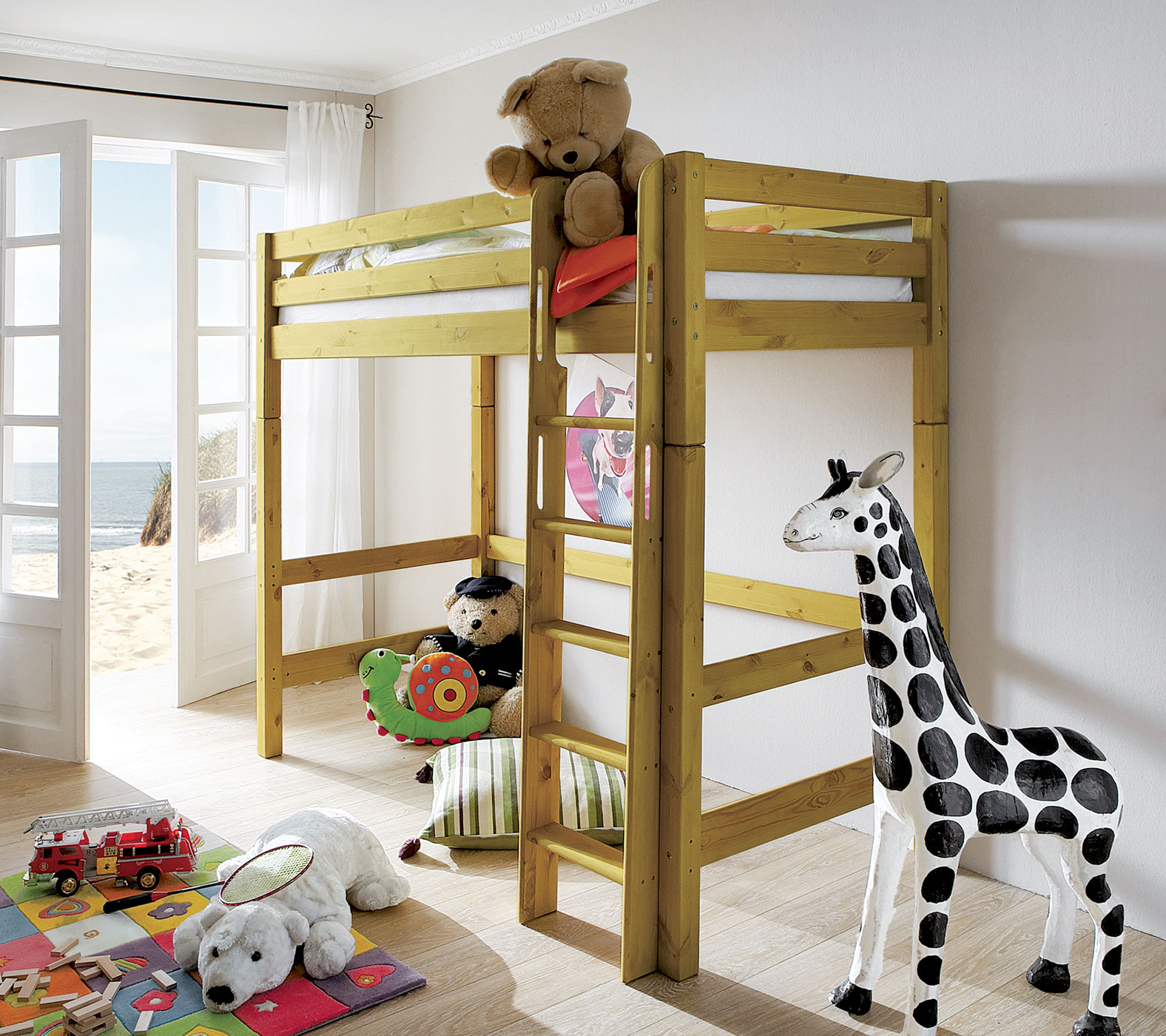 massives umbaubares hochbett mit leiter f r kinder kids paradise. Black Bedroom Furniture Sets. Home Design Ideas