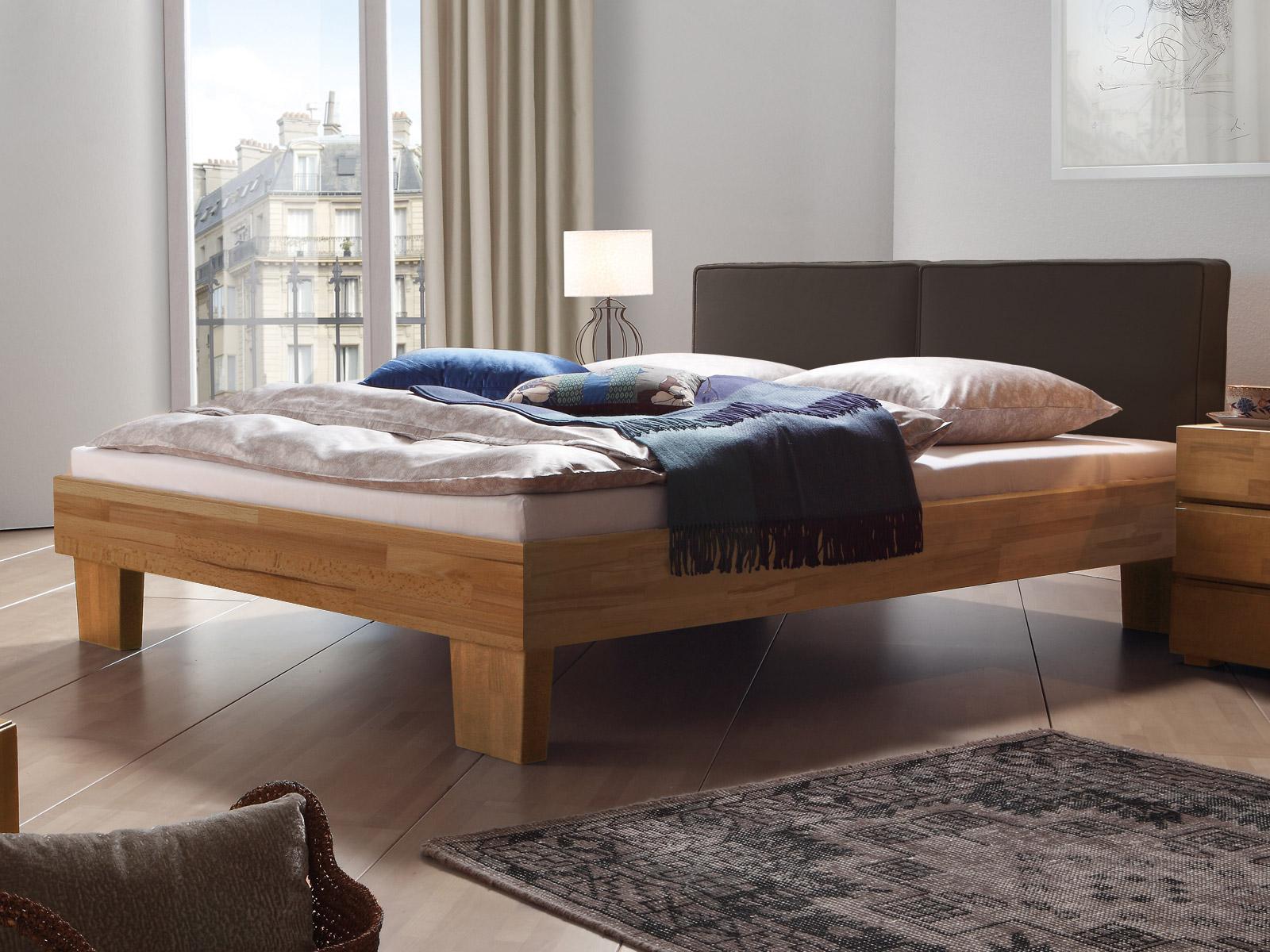 doppelbett massivholz mit kopfteil aus webstoff mit leinen. Black Bedroom Furniture Sets. Home Design Ideas